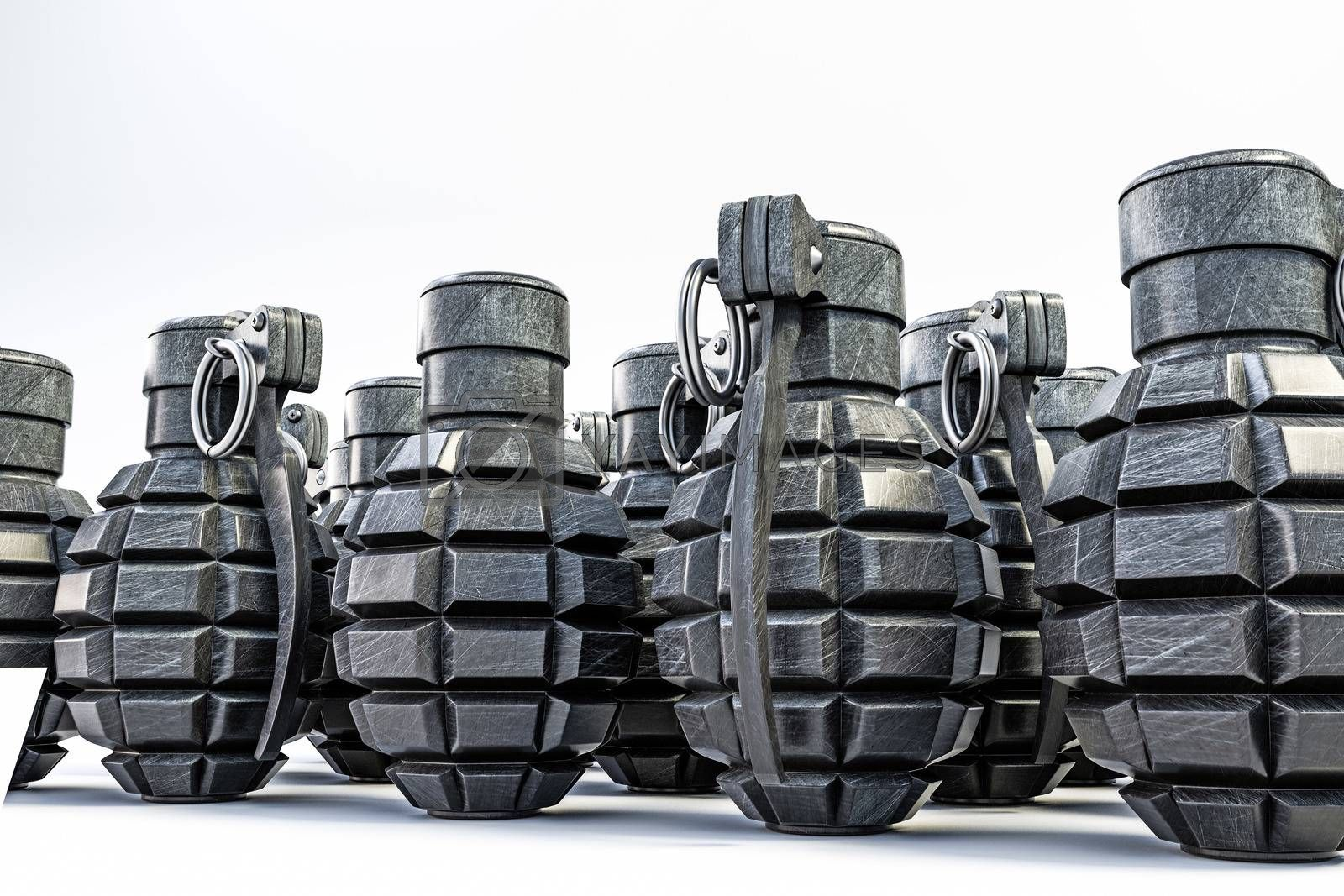grenades isolated on white background 3d illustration