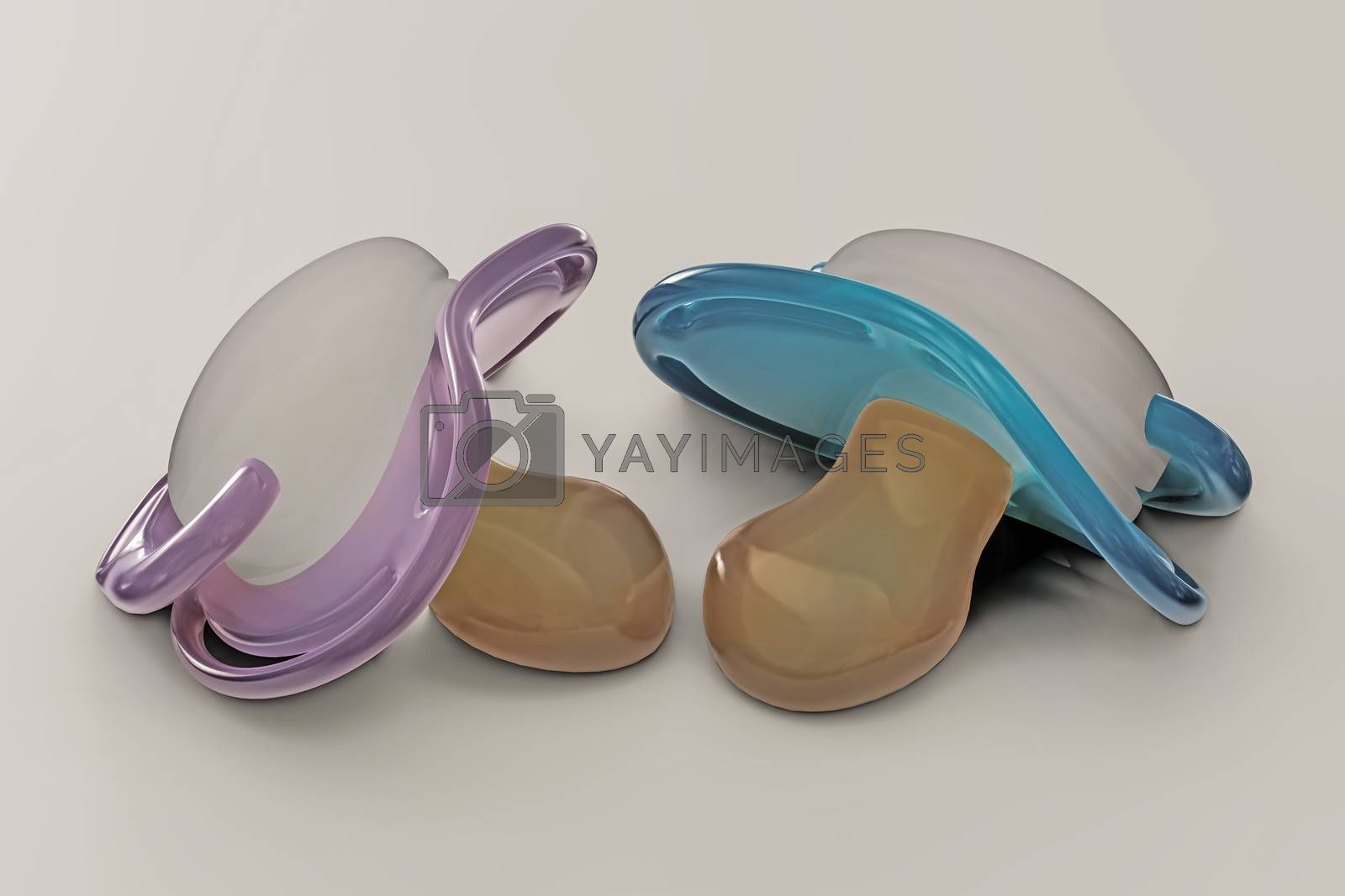 pacifiers isolated on white background 3d illustration