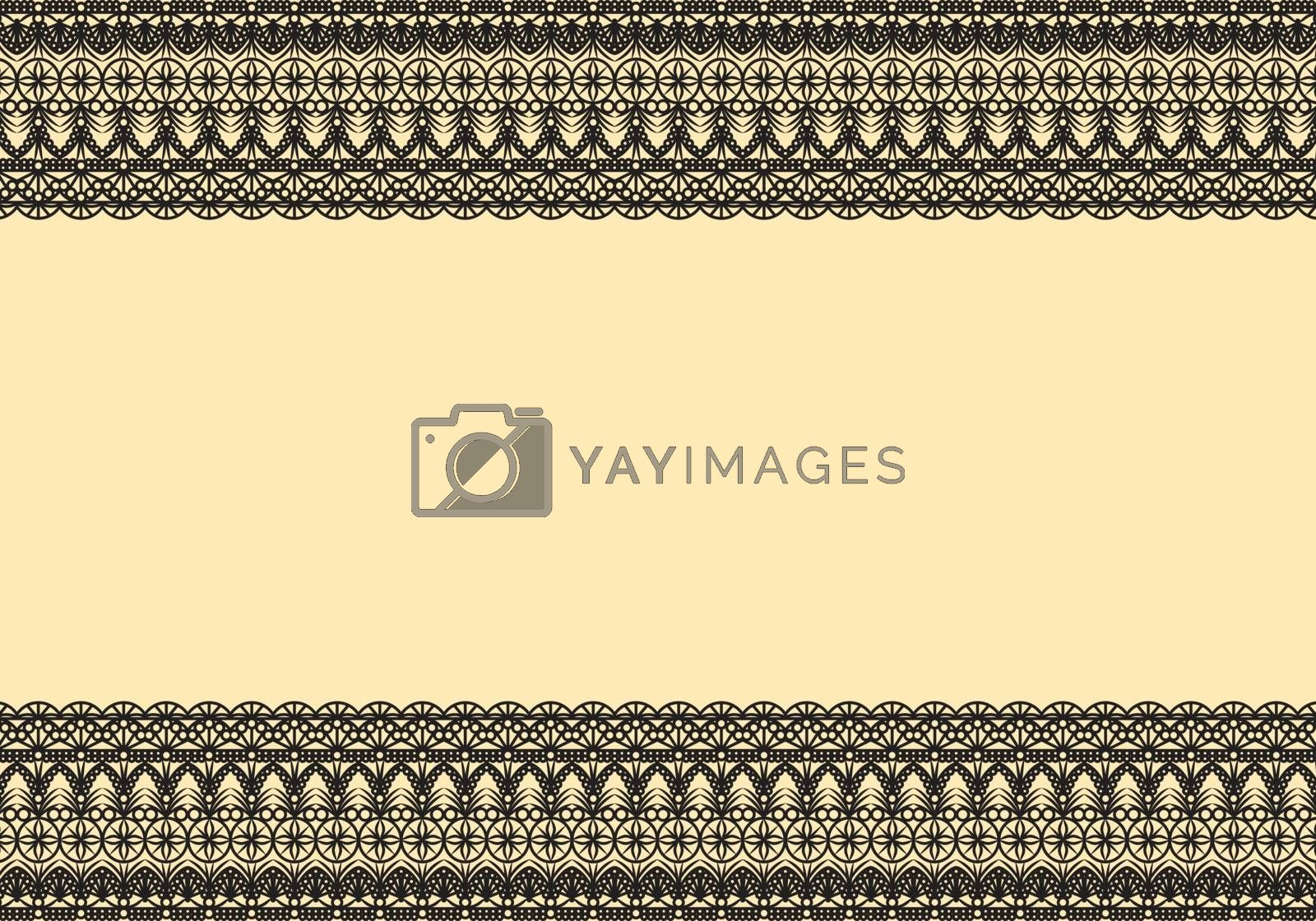 Black lace frame on cream color isolated background. Elegant design concept. Empty space for the copy.