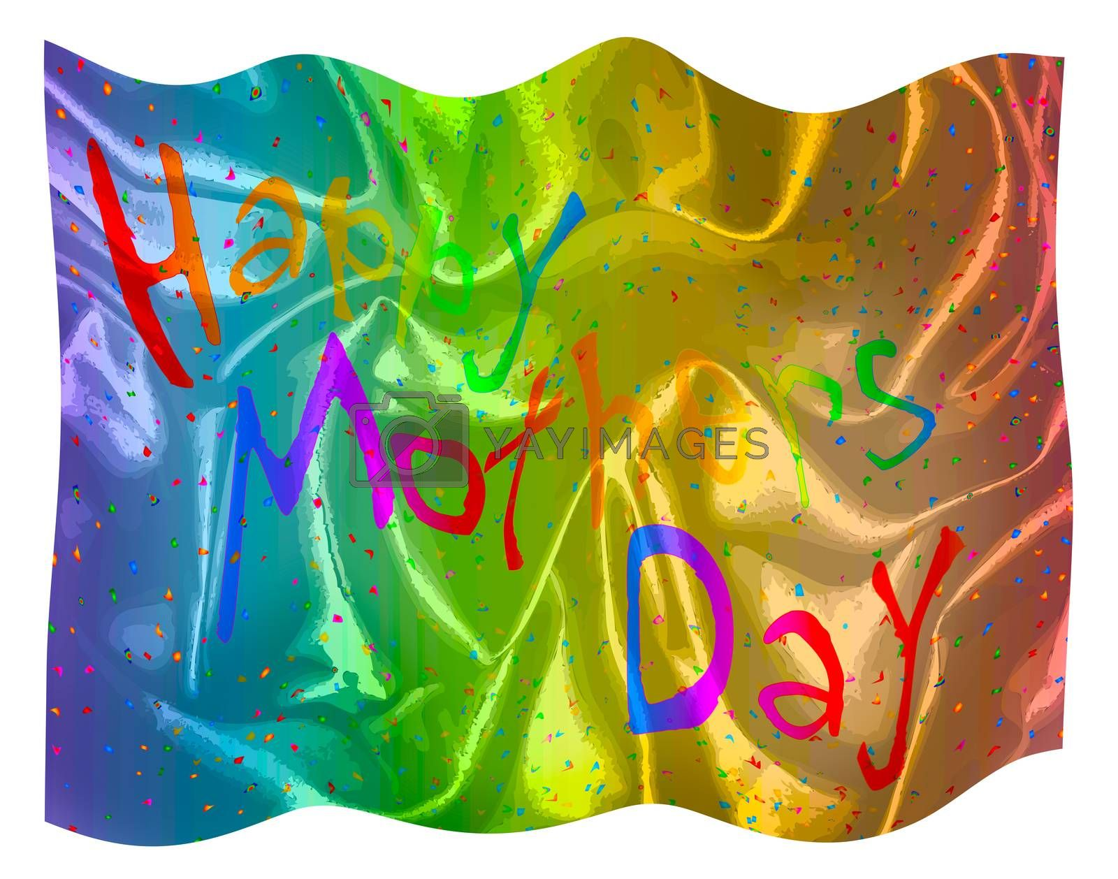 A 'happy mothers day' message in rainbow colours against a confetti rainbow backdrop.