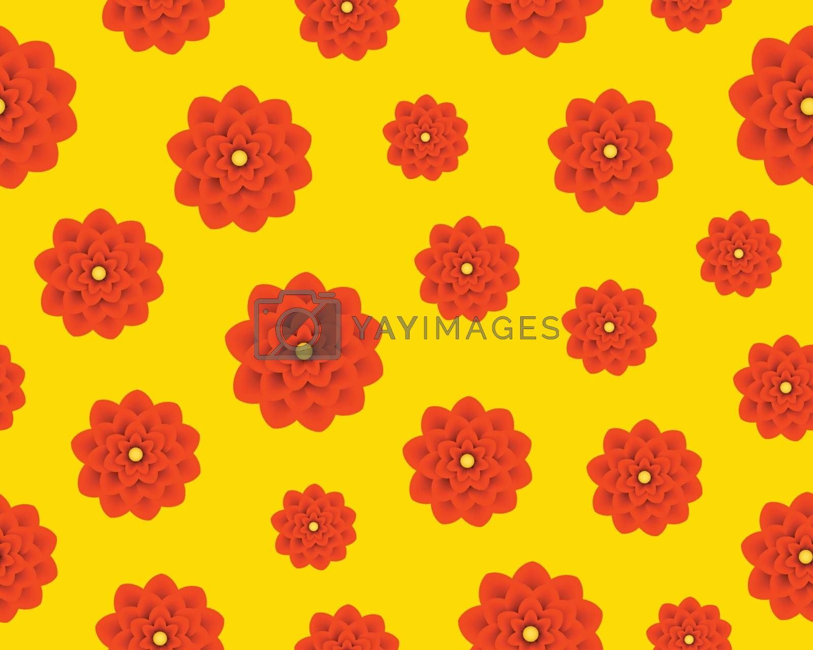 Floral spring seamless pattern. Orange flowers on yellow isolated background.
