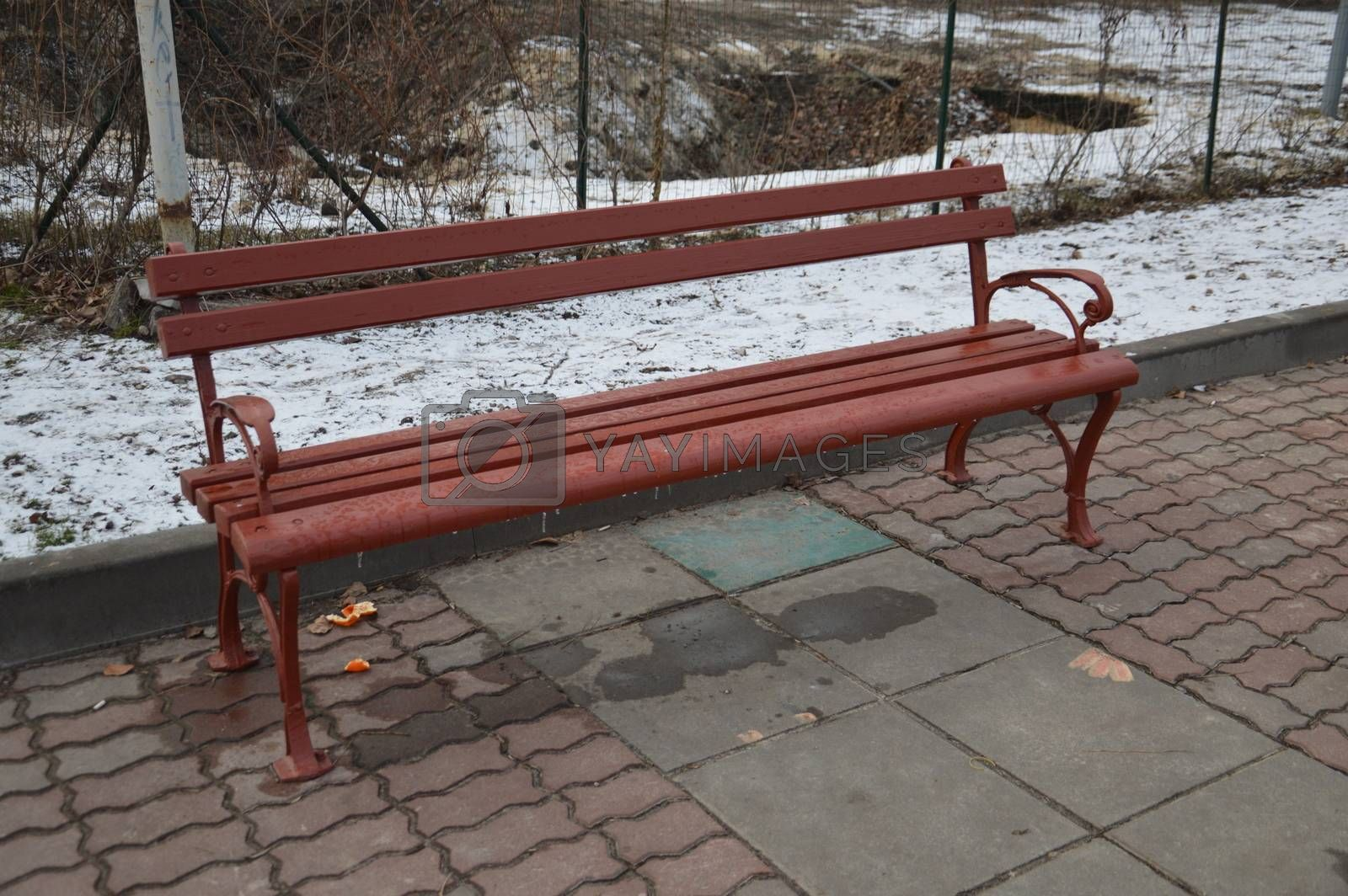 Benches in a winter park made of the wood