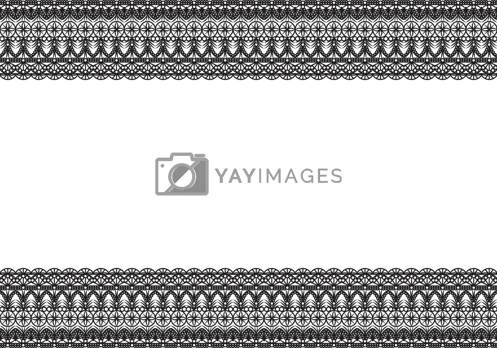 Black seamless lace pattern on white isolated background. Elegant frame decoration design. Empty space for the copy.
