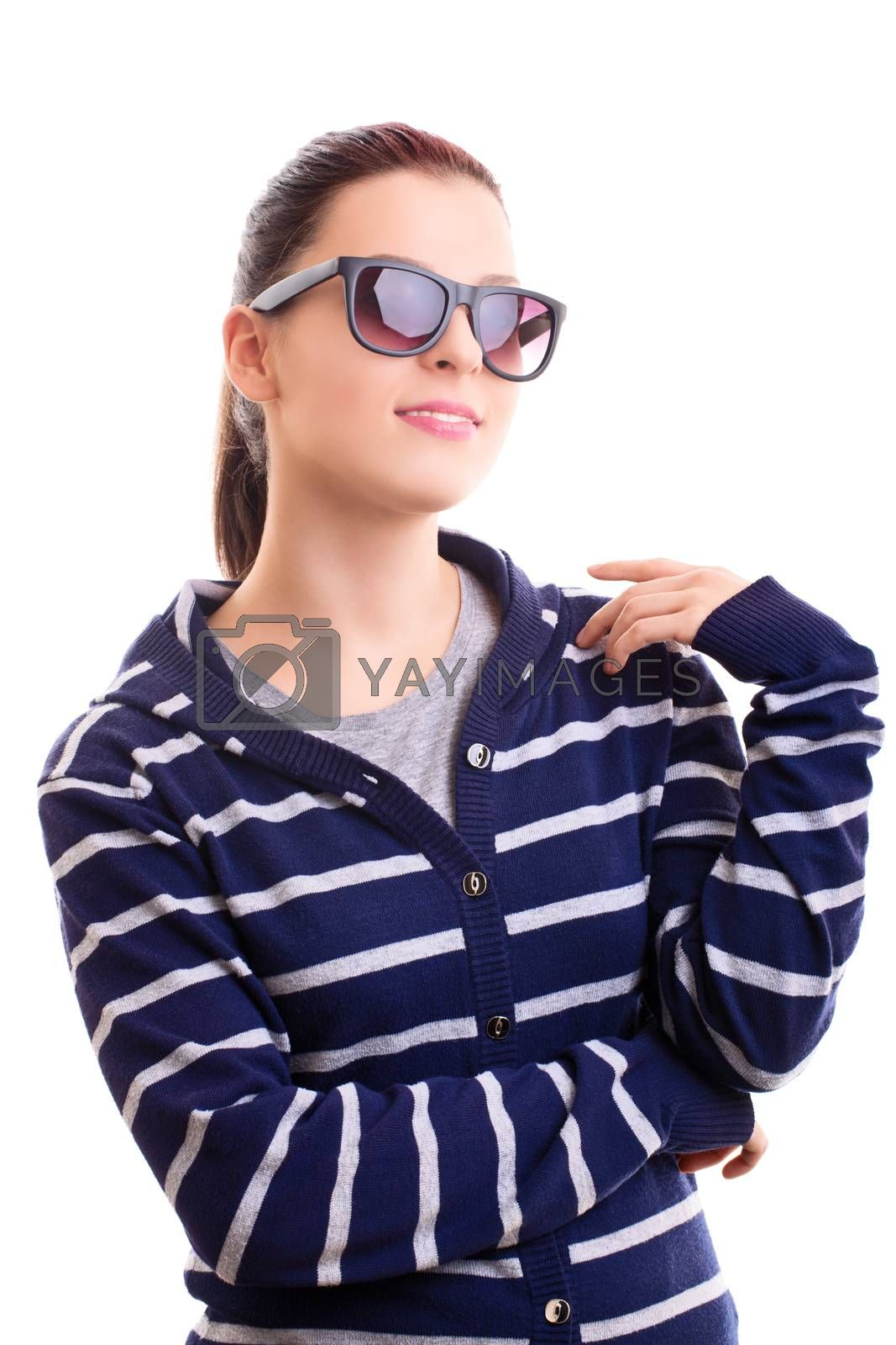 Portrait of a beautiful smiling girl in casual clothes with sunglasses, isolated on white background.