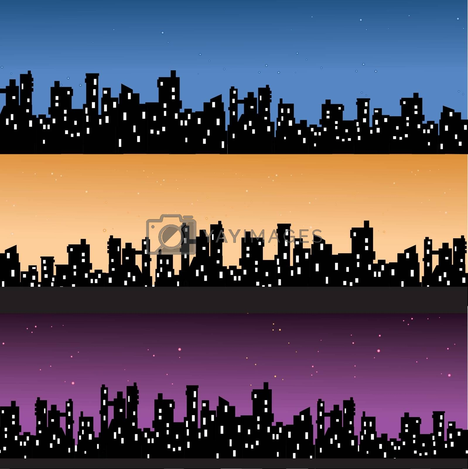 Various variants of houseson the sky