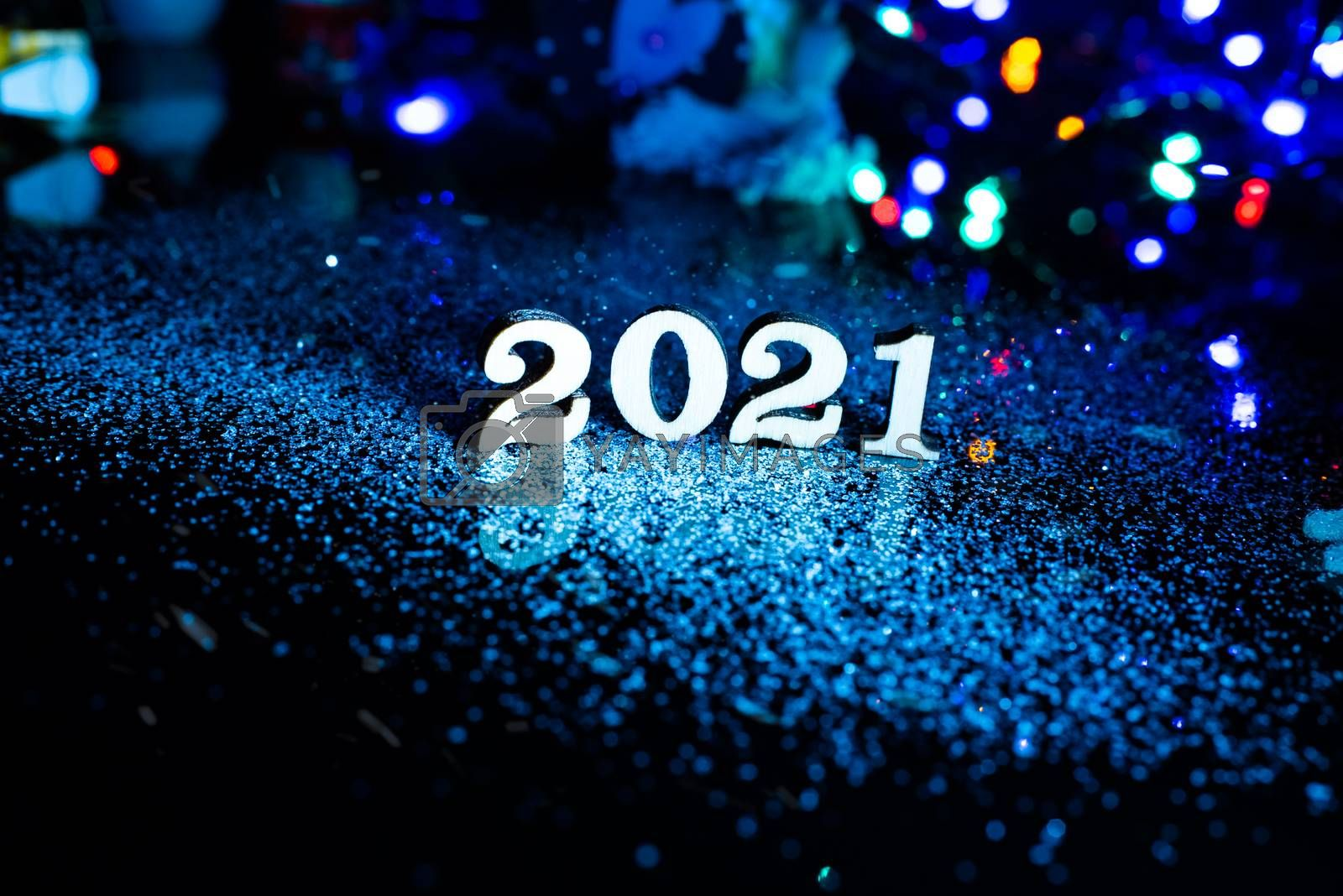 2021 happy new year wood number Christmas decoration and snow with bright background and copy space