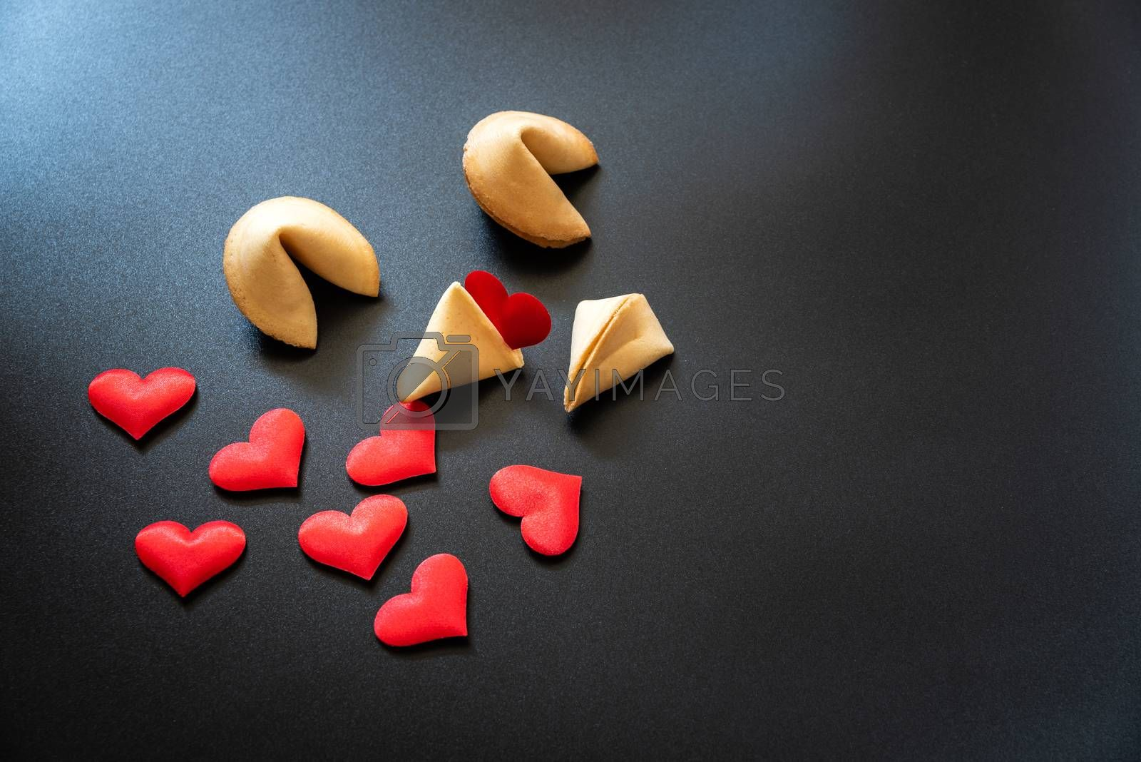 Looking for love in lucky cookies, concept of single people needing dating to find love.