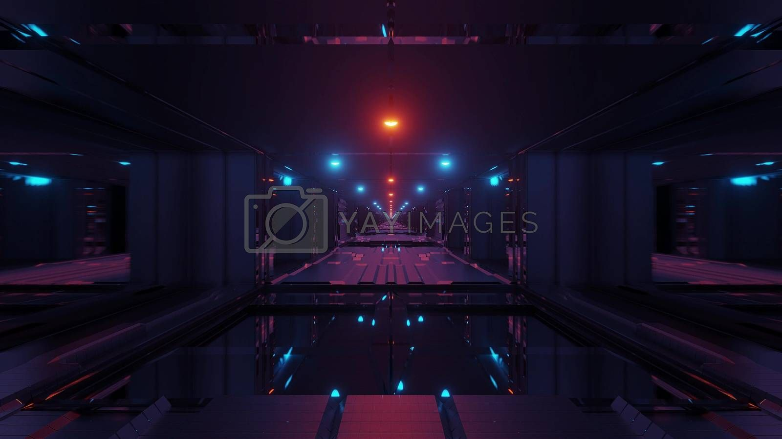 futuristic scifi space tunnel corridor with glowing lights and glass windows and botom 3d illustration background wallpaper graphic artwork, endless sci-fi tunnel 3d renderig with reflective contur