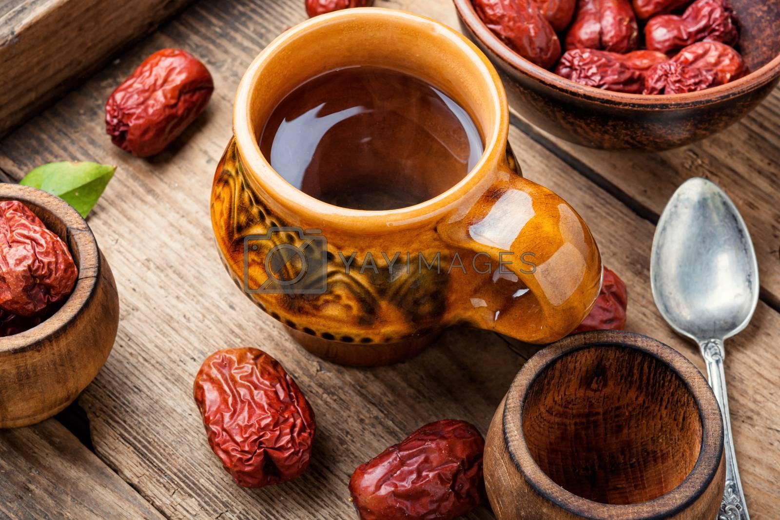 Medicinal tea from unabi or jujube.Herbal medicine.Chinese traditional medicine.