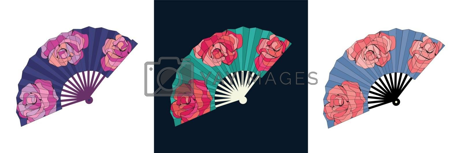 Vector of hand drawn illustration Oriental japan fan set isolated. Traditional paper chinese or japanese folding fans.