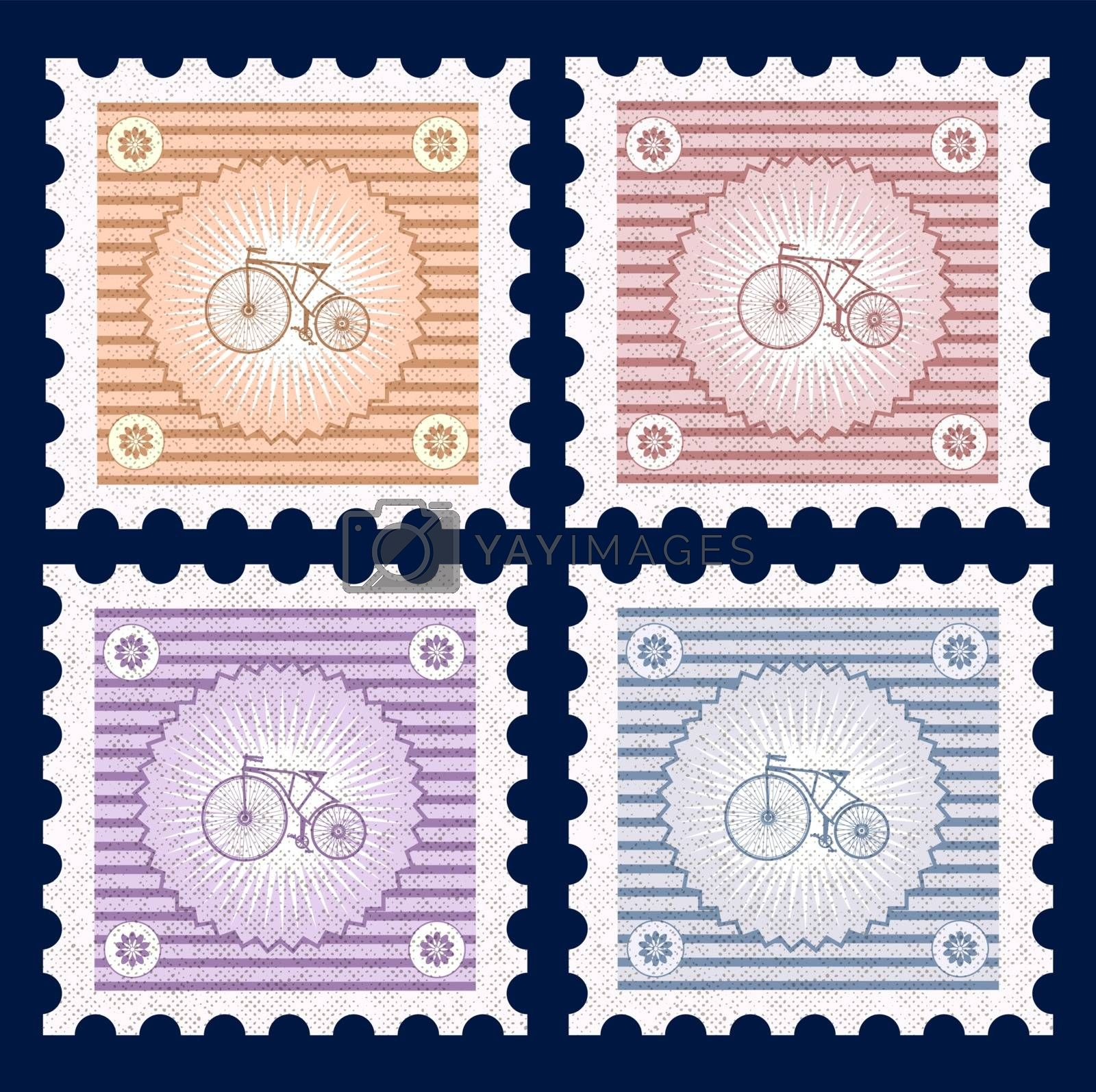 Retro postage stamps on the theme of transport and bicycles