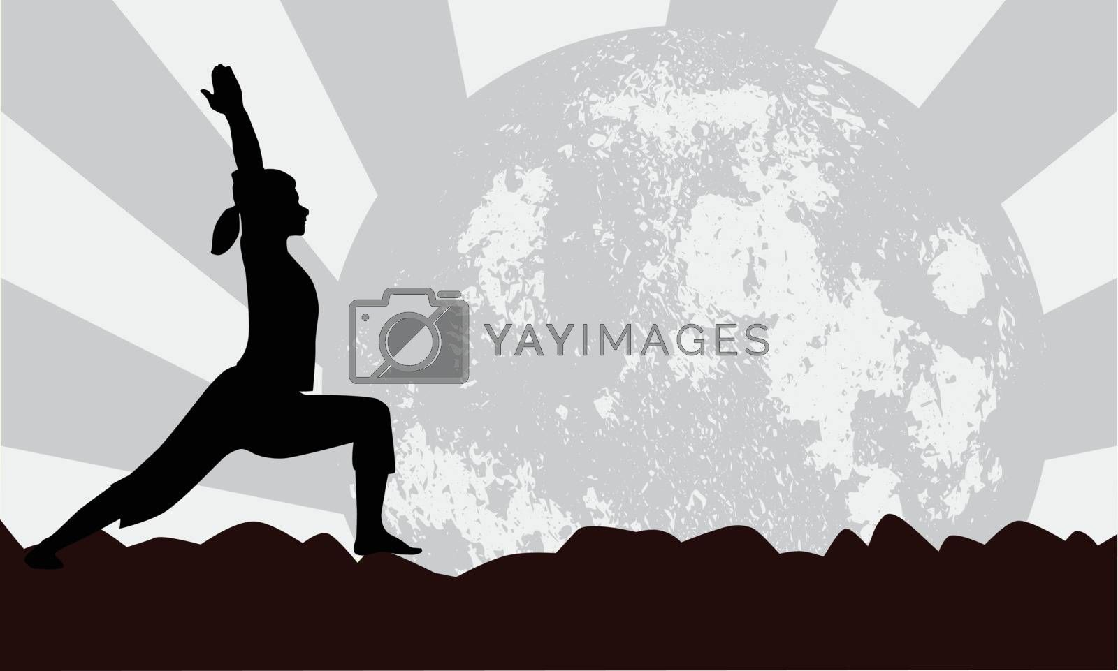 A young women performing a yoga asana against a moon background