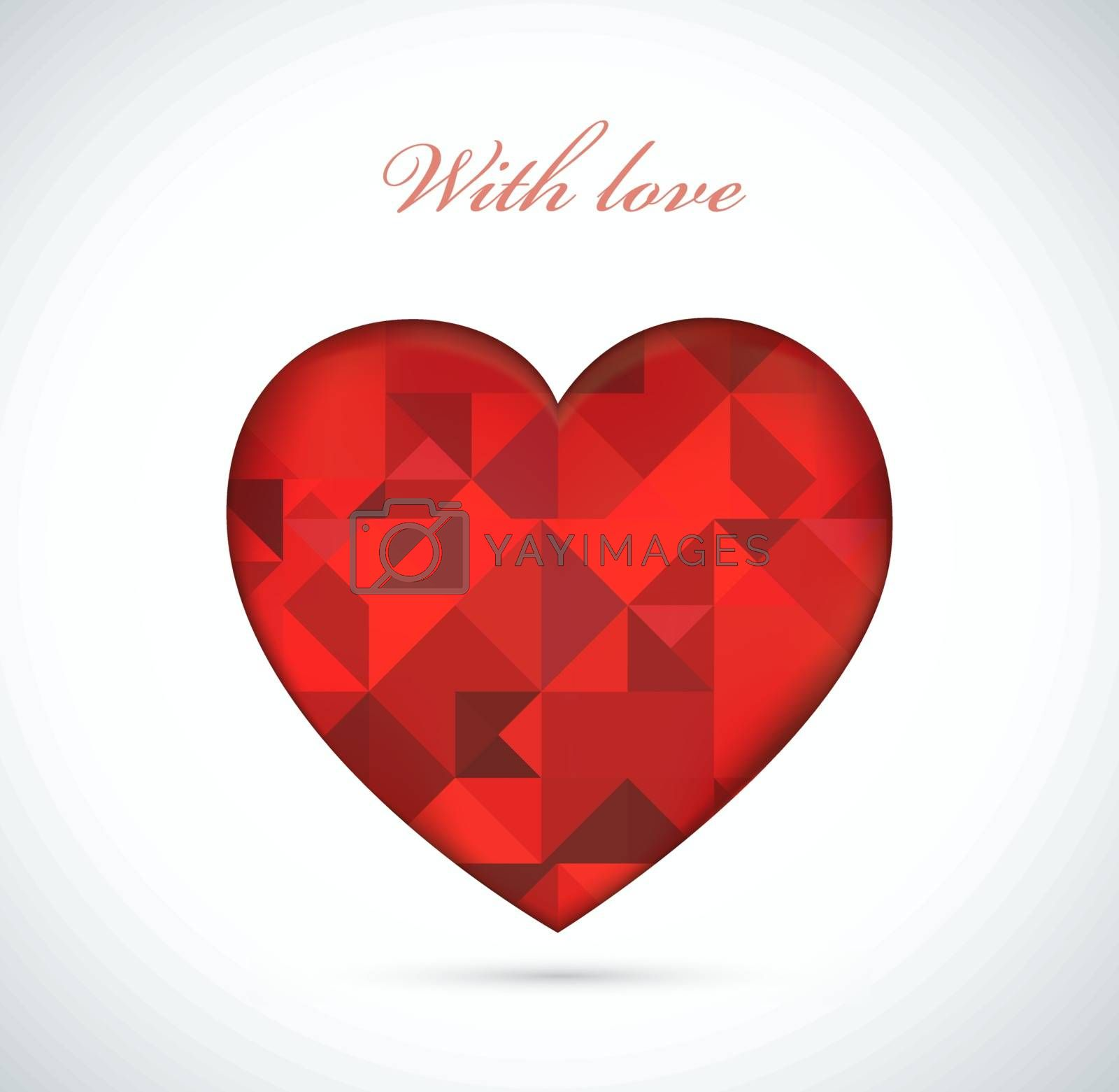 Red heart of the polygonal geometric shapes