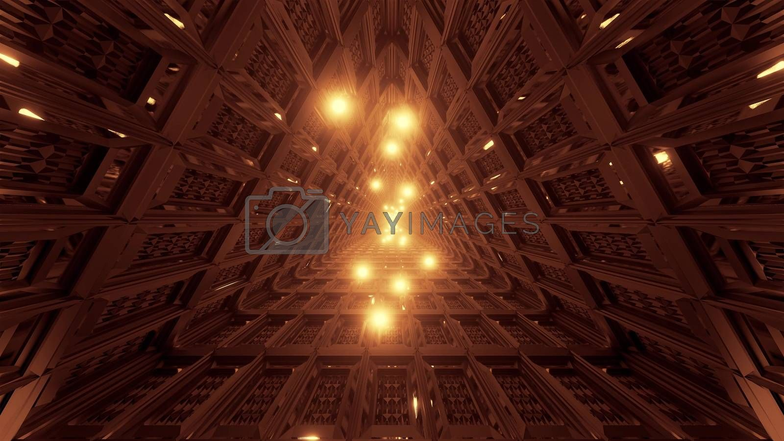 glowing spheres flying through triangle technical tunnel corridor 3d illustration backgrounds wallpaper graphics artworks, flying glowing sphres particle 3d rendering design