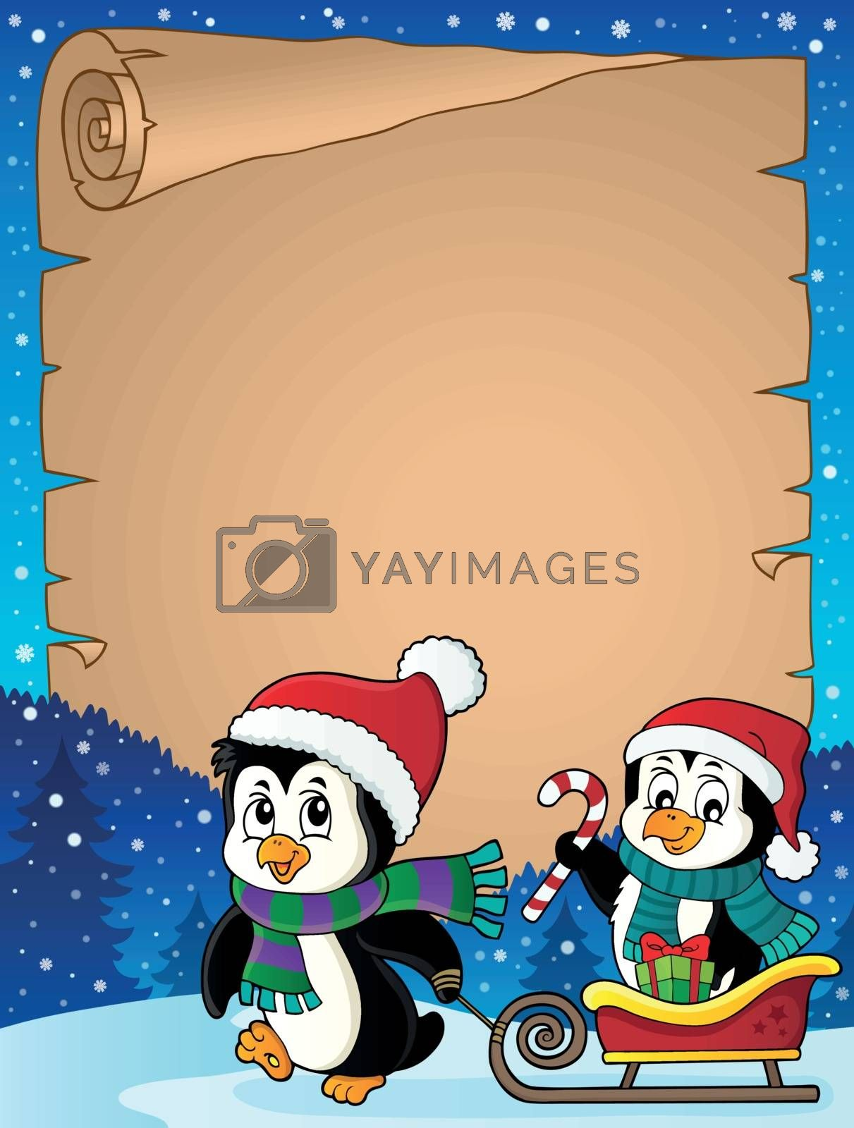 Christmas penguin and sledge parchment 2 - eps10 vector illustration.