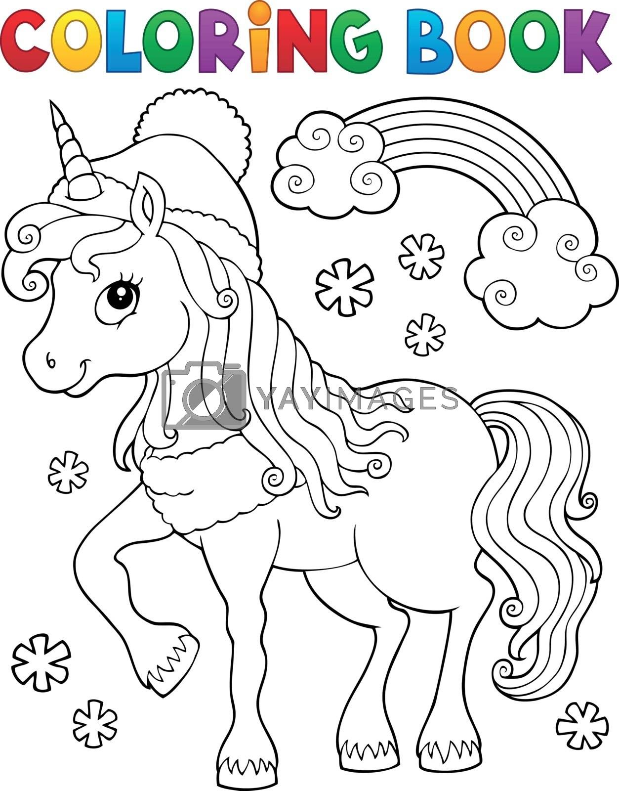 Coloring book winter unicorn theme 1 - eps10 vector illustration.