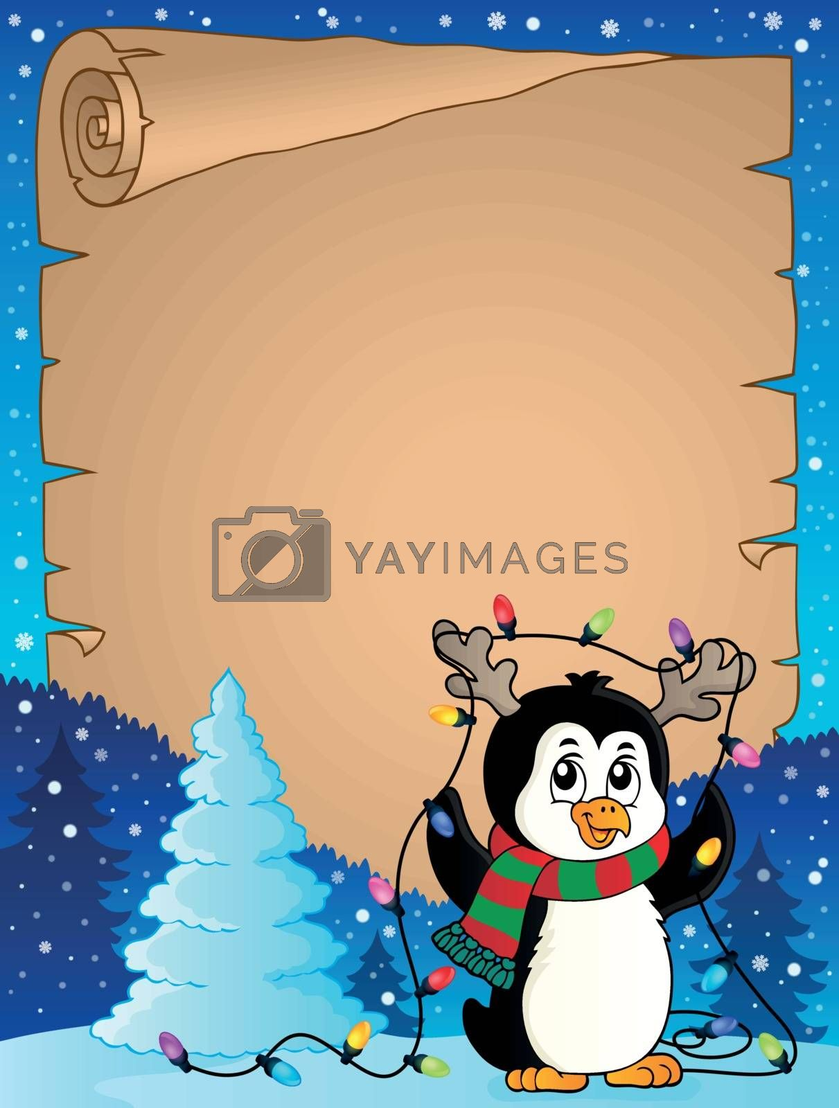 Penguin and Christmas lights parchment 1 - eps10 vector illustration.