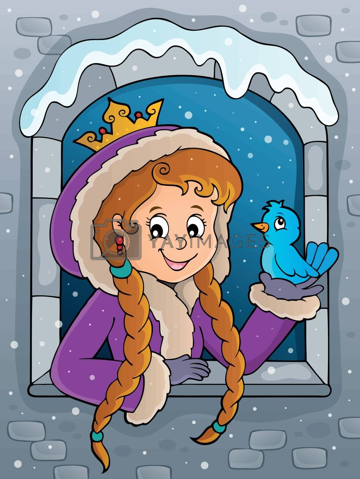 Princess in winter window theme image 2 - eps10 vector illustration.