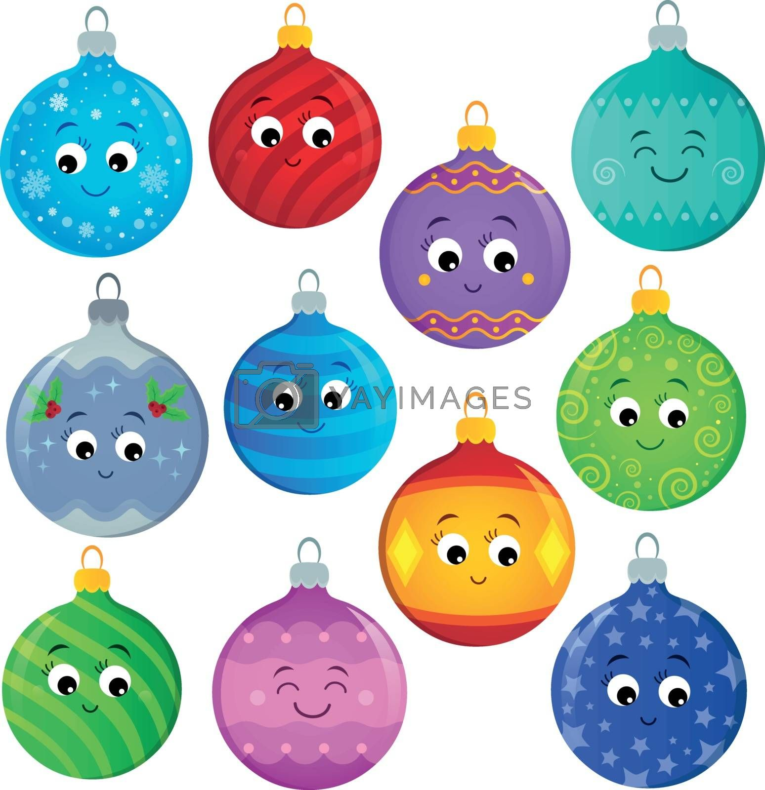 Stylized Christmas ornaments theme set 2 - eps10 vector illustration.
