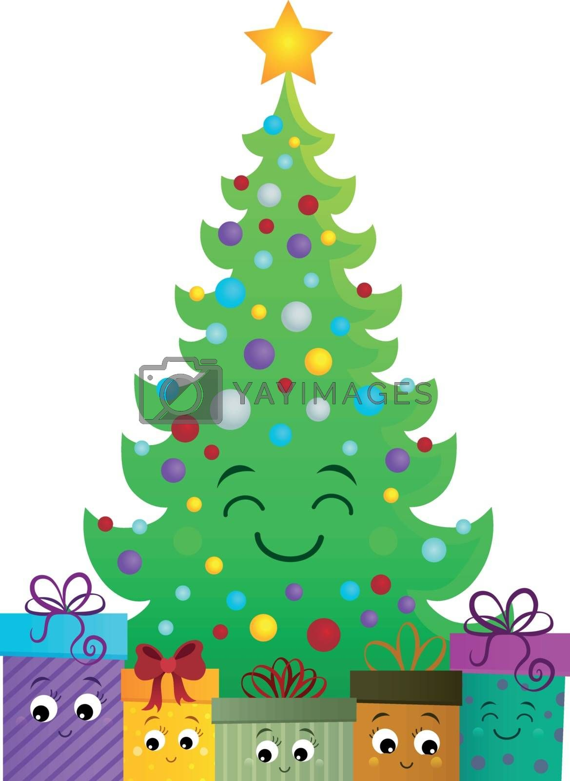 Stylized Christmas tree and gifts 1 - eps10 vector illustration.