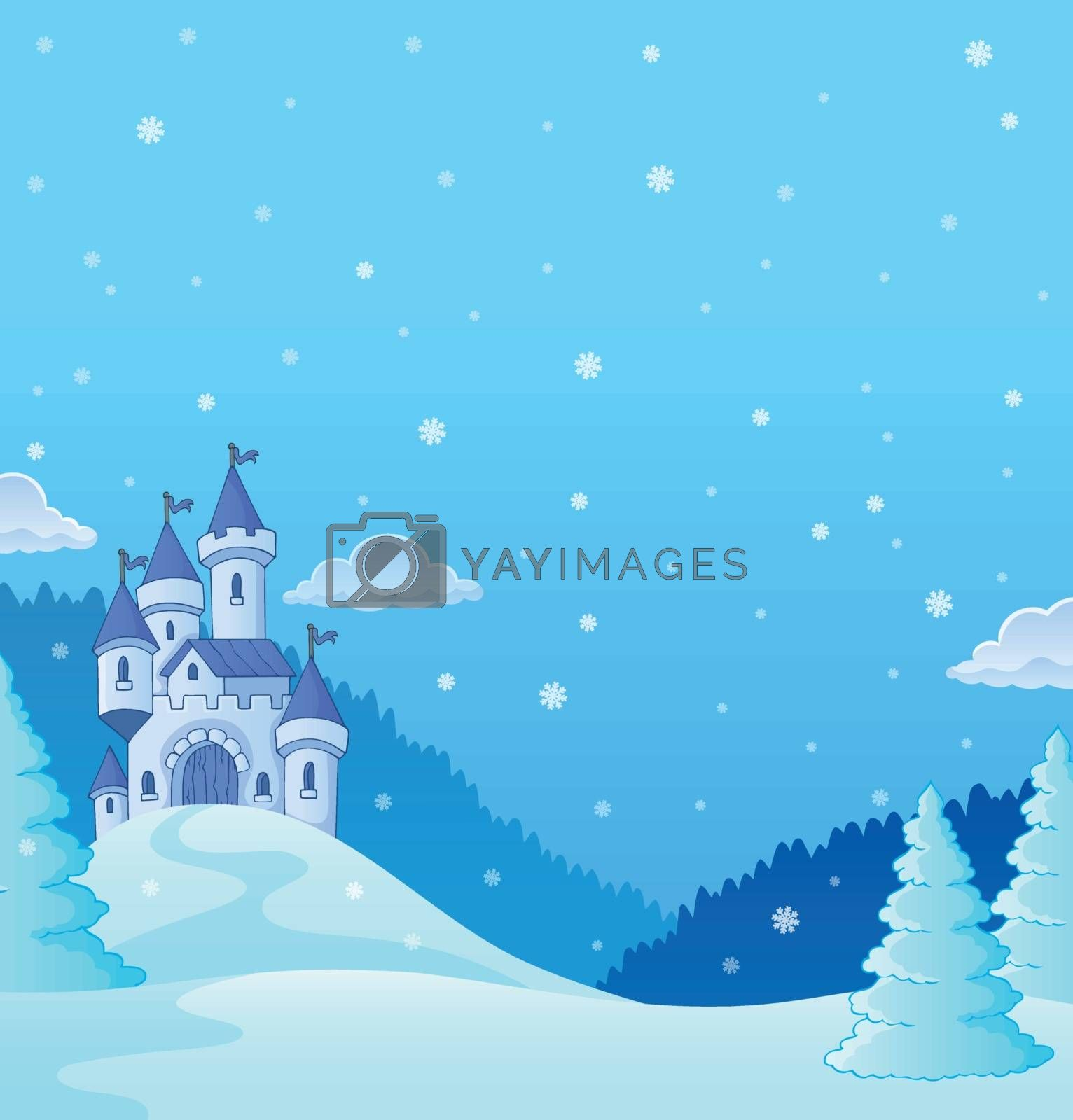 Winter countryside with castle theme 2 - eps10 vector illustration.