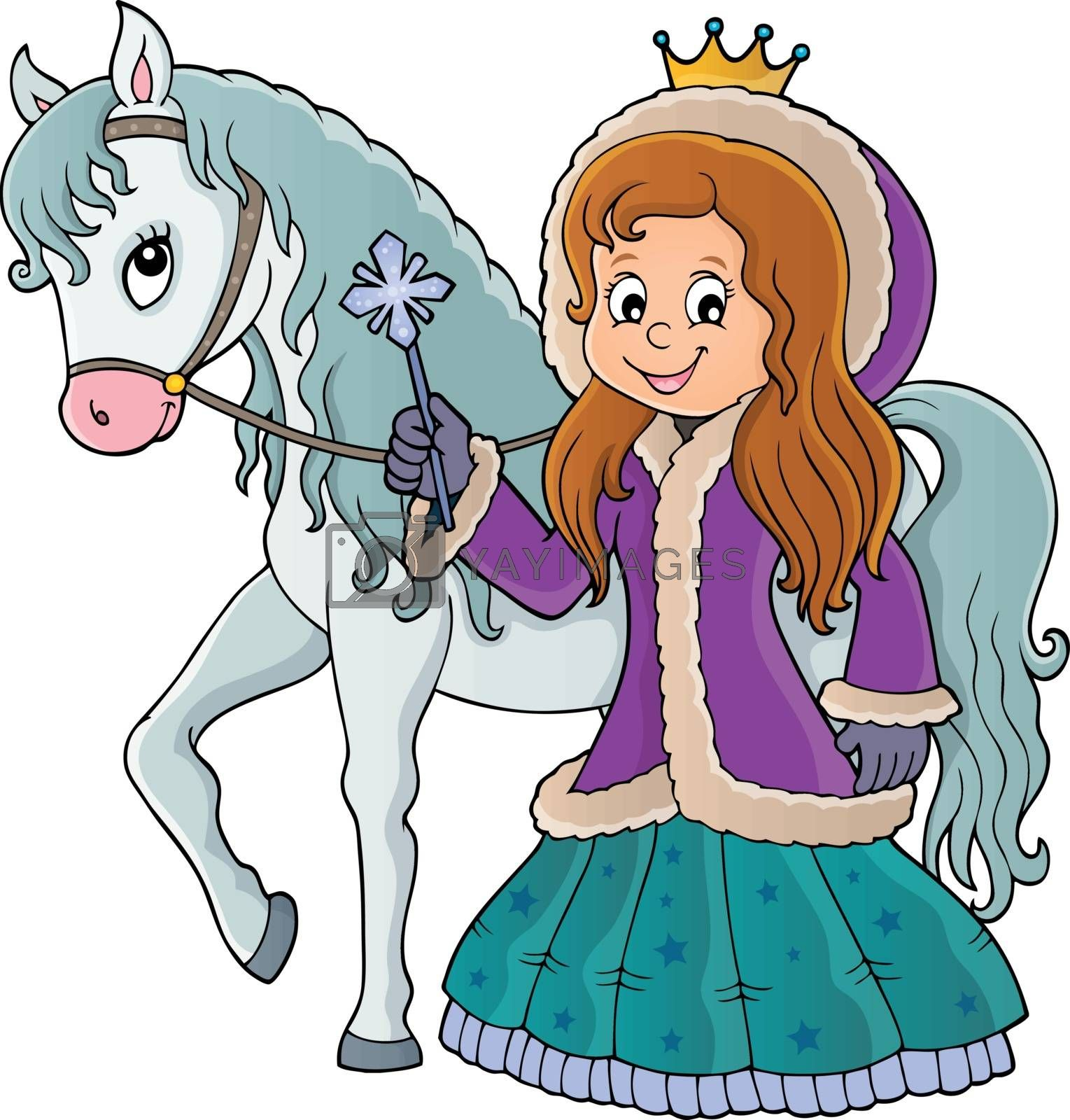 Winter princess with horse image 1 - eps10 vector illustration.