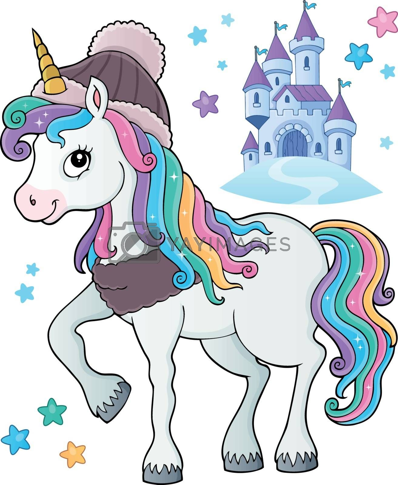 Winter unicorn theme image 1 - eps10 vector illustration.
