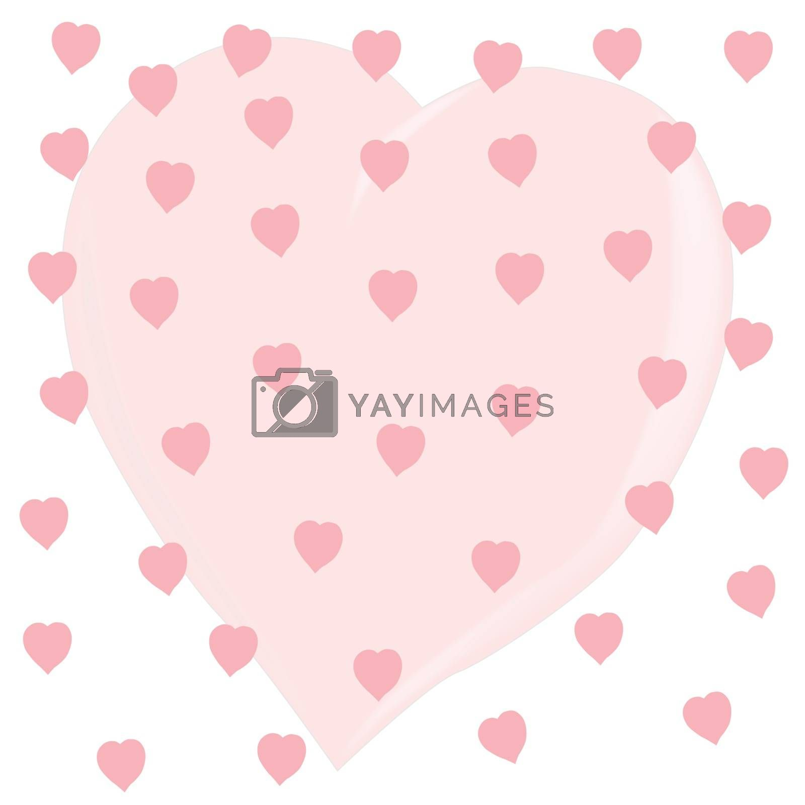 One large heart covered in several smaller ones on a white background