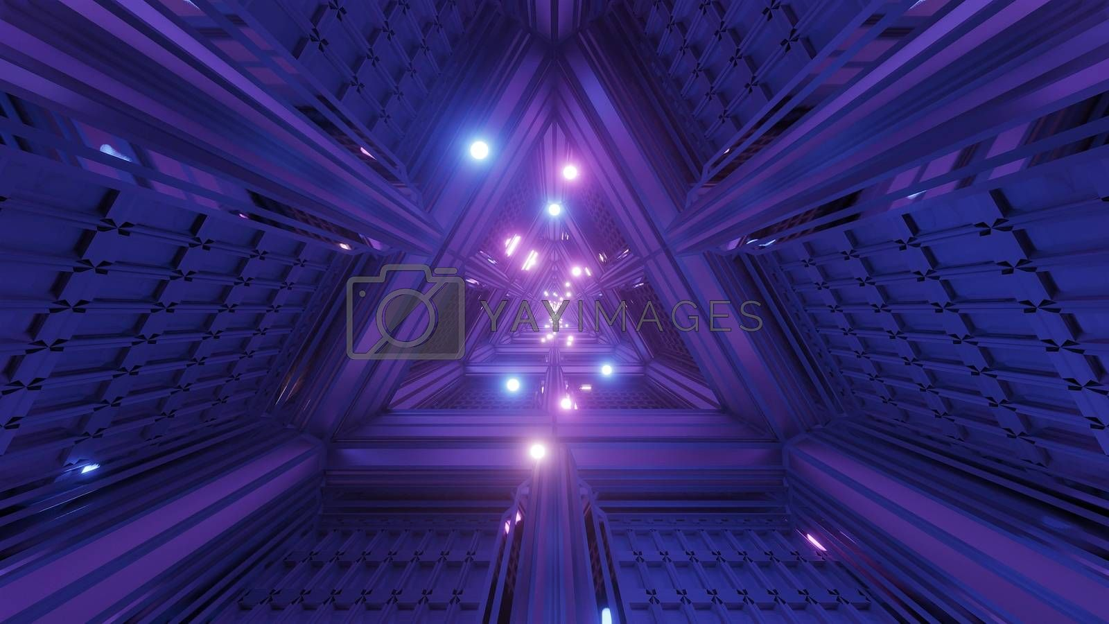 glowing spheres particles fly through triangle space tunnel corridor 3d illustration backgrounds wallpaper graphics artworks, futuristic scifi tunnel 3d rendering design