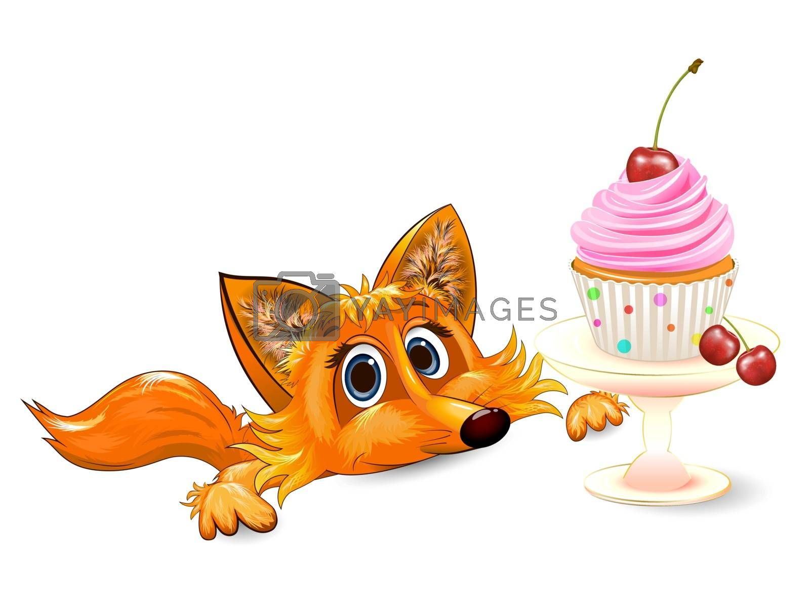 Cartoon red fox and cupcake with cherry on a white background. Greeting card.