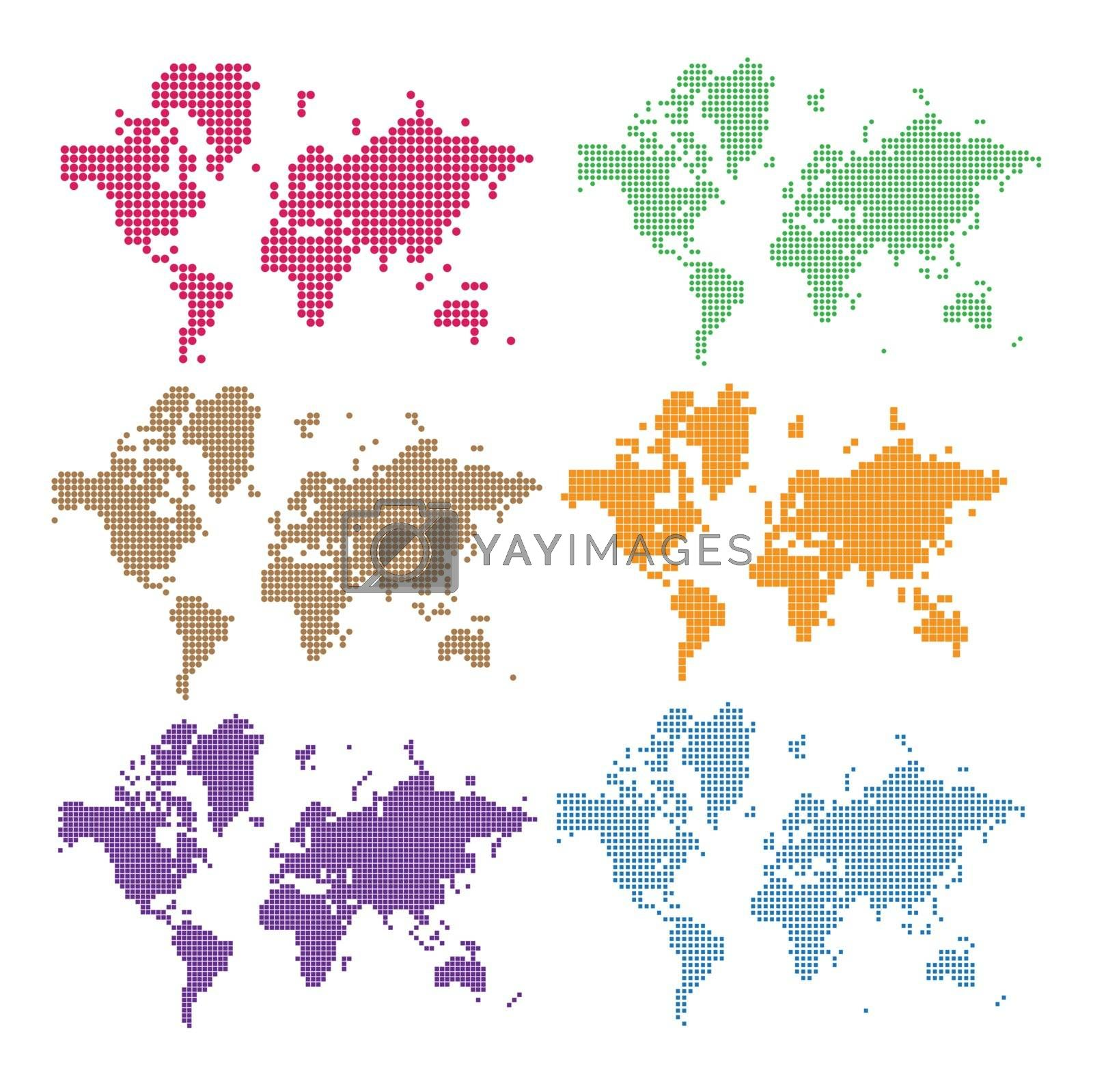 Vector Dotted World Map. Set the pixel maps of the Earth