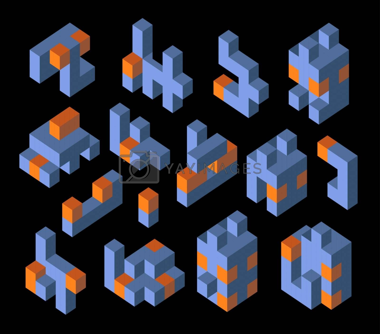 Isometric abstract geometric design elements with colored parts on a dark background