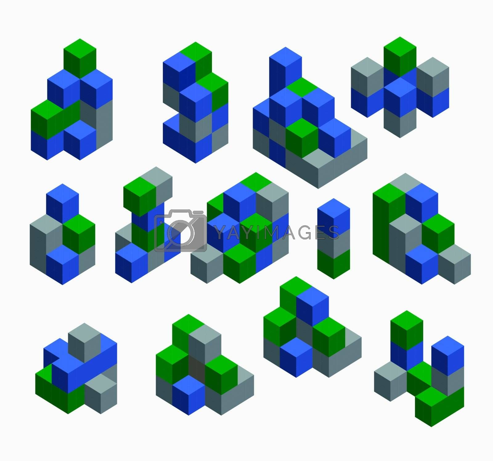 Isometric abstract geometric design elements with colored parts on a white background