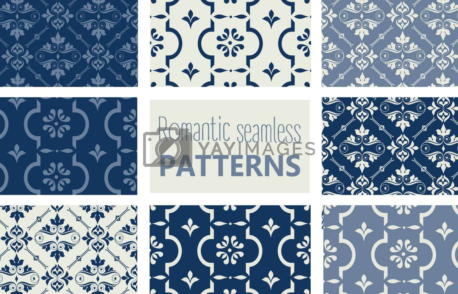 Baroque background set collection of romantic floral seamless pattern for decoration damask wallpaper, vintage style, , stock vector