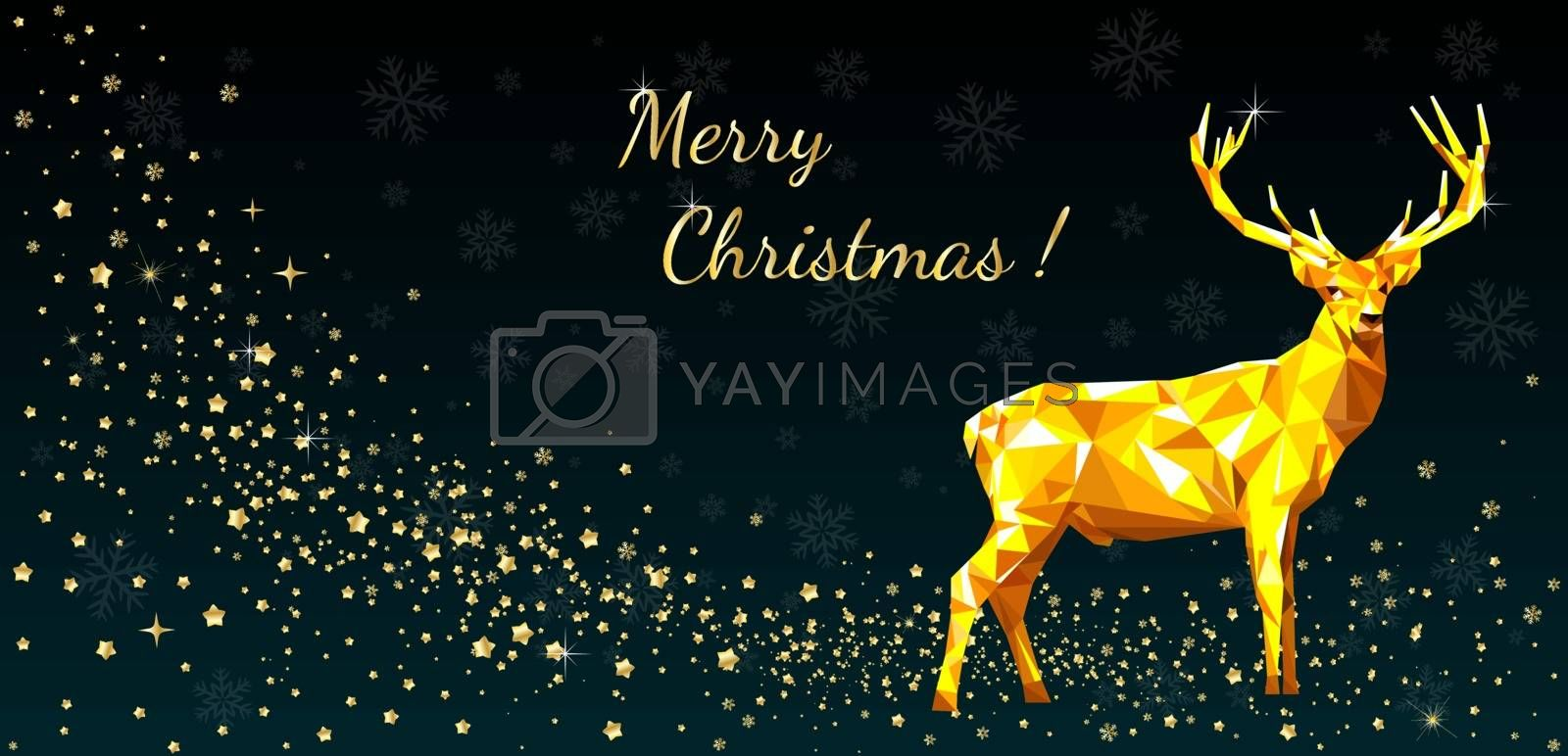 Greeting card with deer, Merry Christmas by liolle