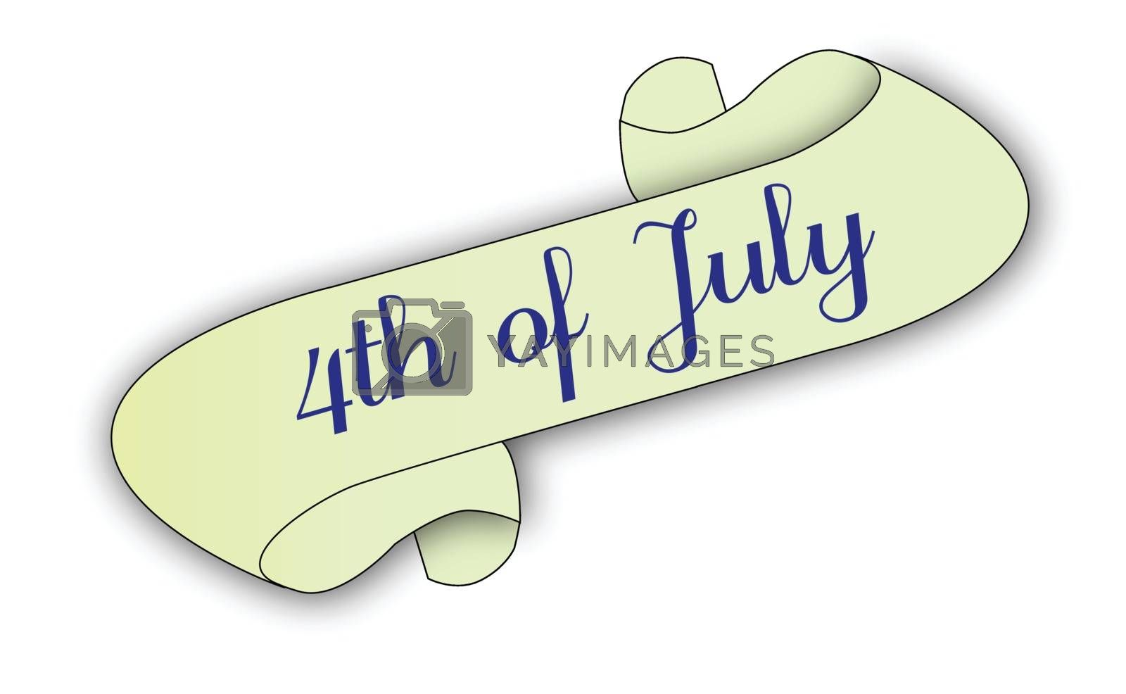 A 4th of July scroll isolated on white.