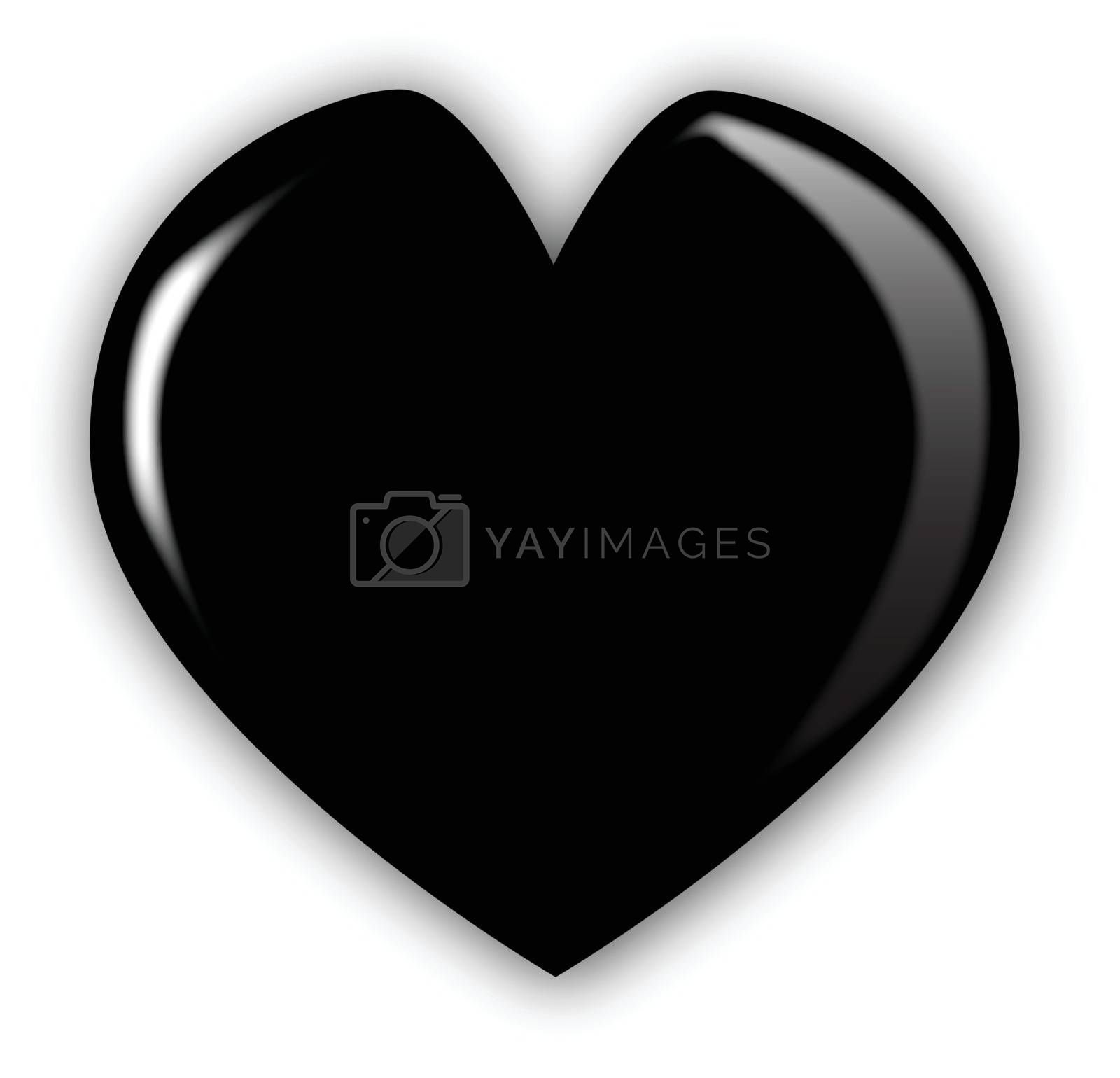A black heart isolated over a white background