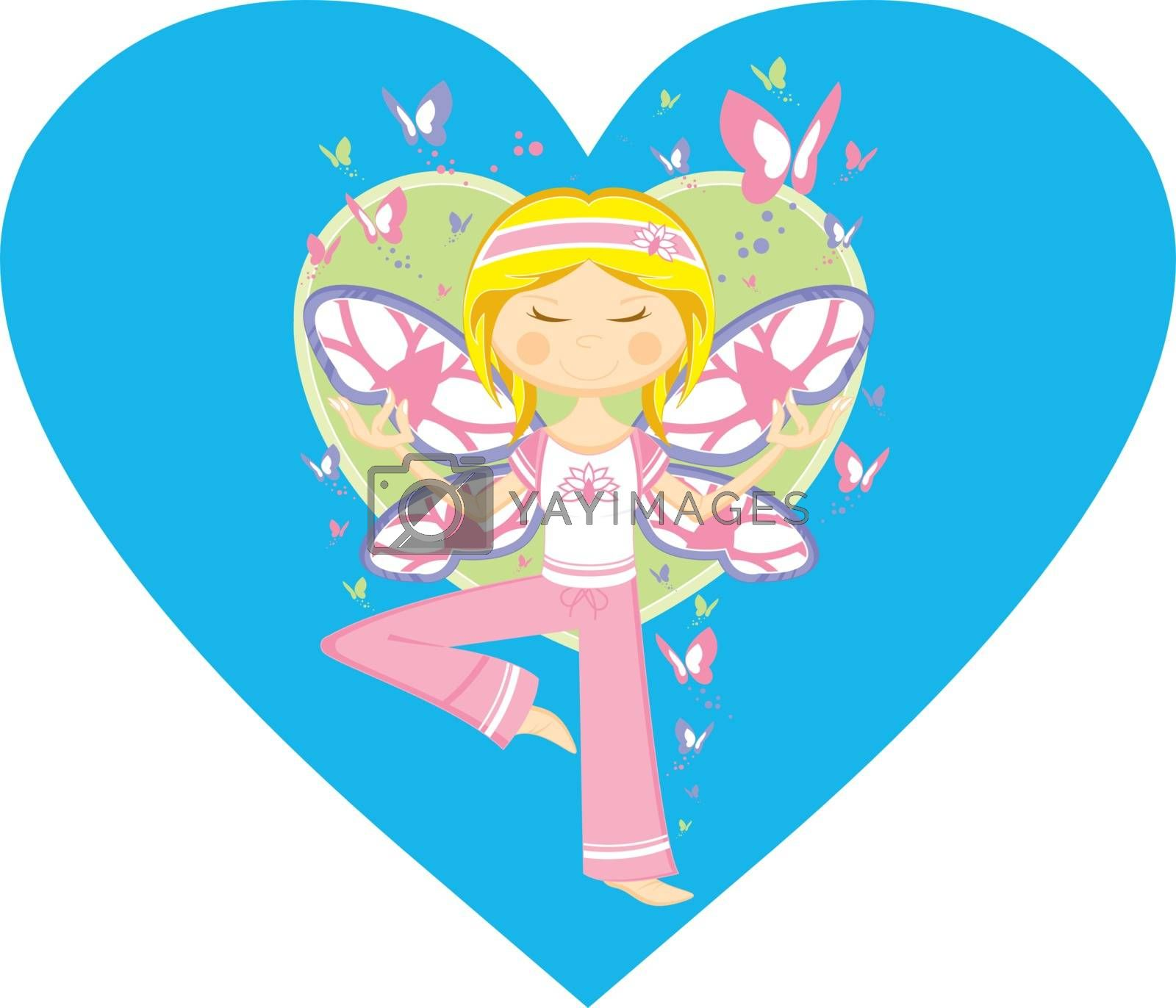 Cute Cartoon Yoga Girl on a Valentine Heart Vector Illustration by Mark Murphy Creative