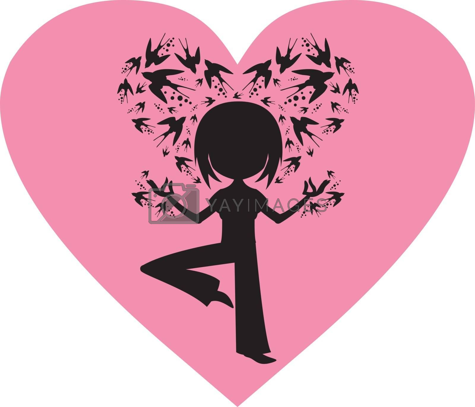 Cute Cartoon Yoga Girl with Swallows in Silhouette on a Valentine Heart Illustration by Mark Murphy Creative