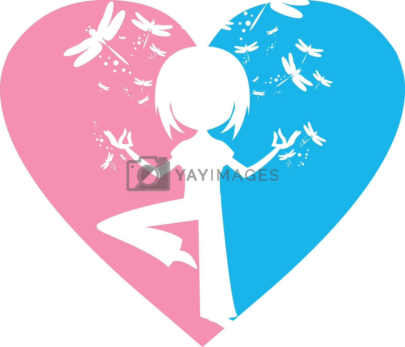 Cartoon Yoga Girl with Dragonflies in Silhouette on a Valentine Heart Illustration by Mark Murphy Creative