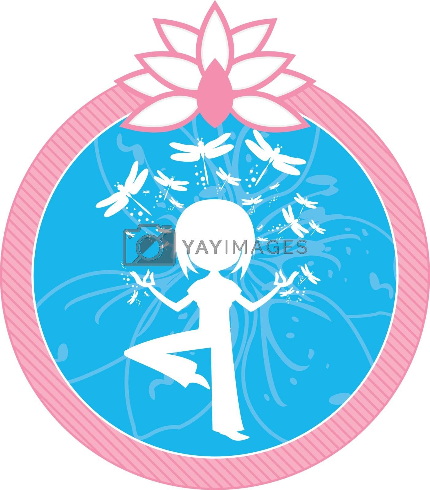Cartoon Yoga Girl with Dragonflies by markmurphycreative