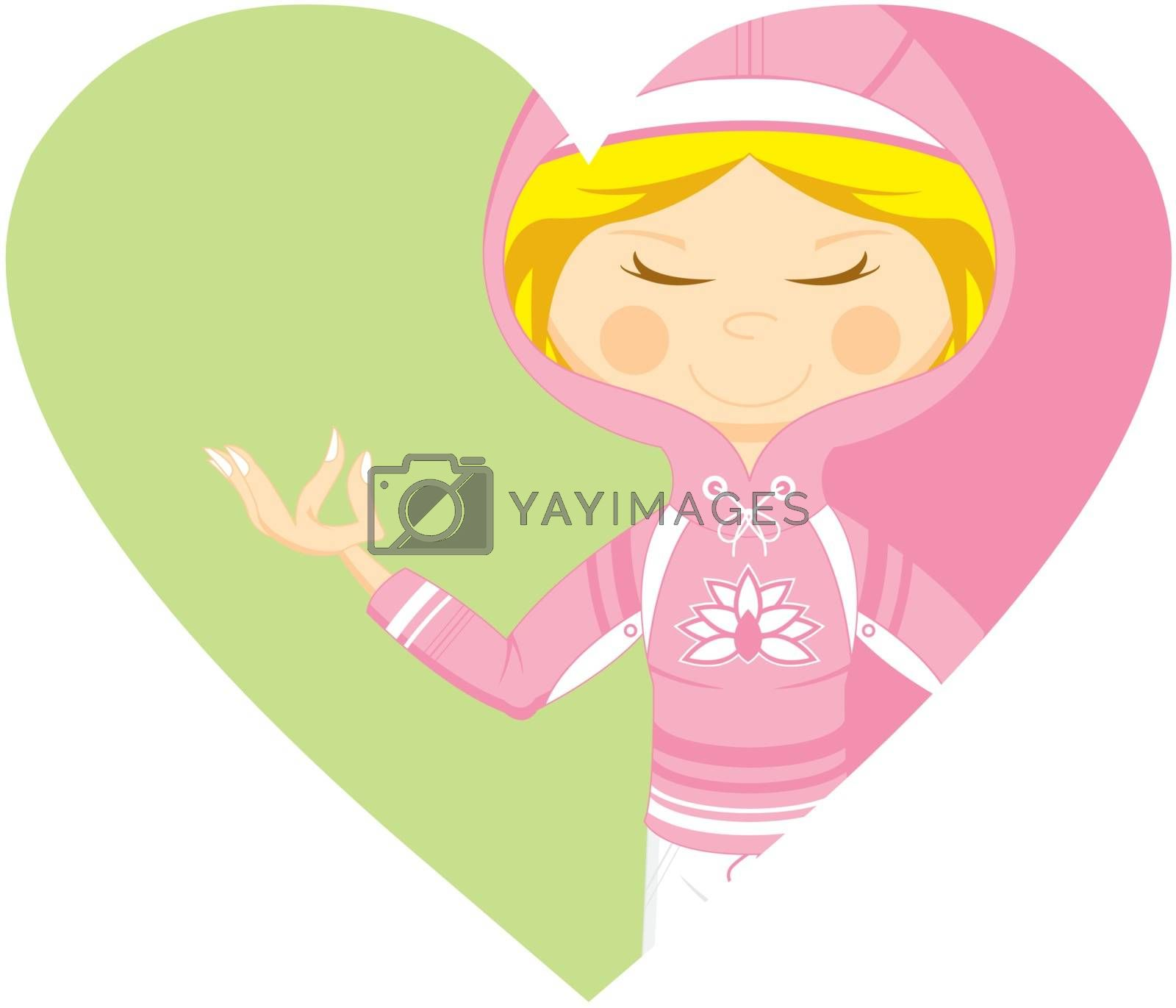 Cute Cartoon Yoga Girl wearing a Hooded Top on a Valentine Heart Vector Illustration by Mark Murphy Creative