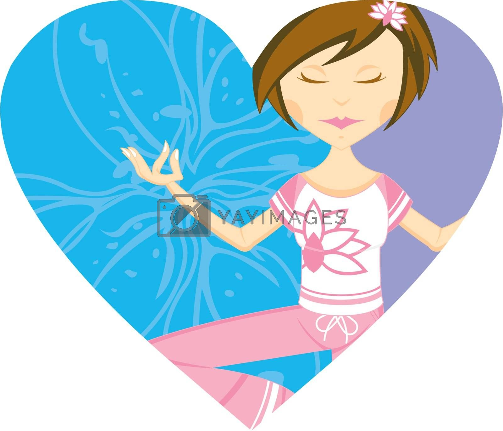 Cartoon Yoga Girl with Flower in Silhouette on a Valentine Heart Illustration by Mark Murphy Creative