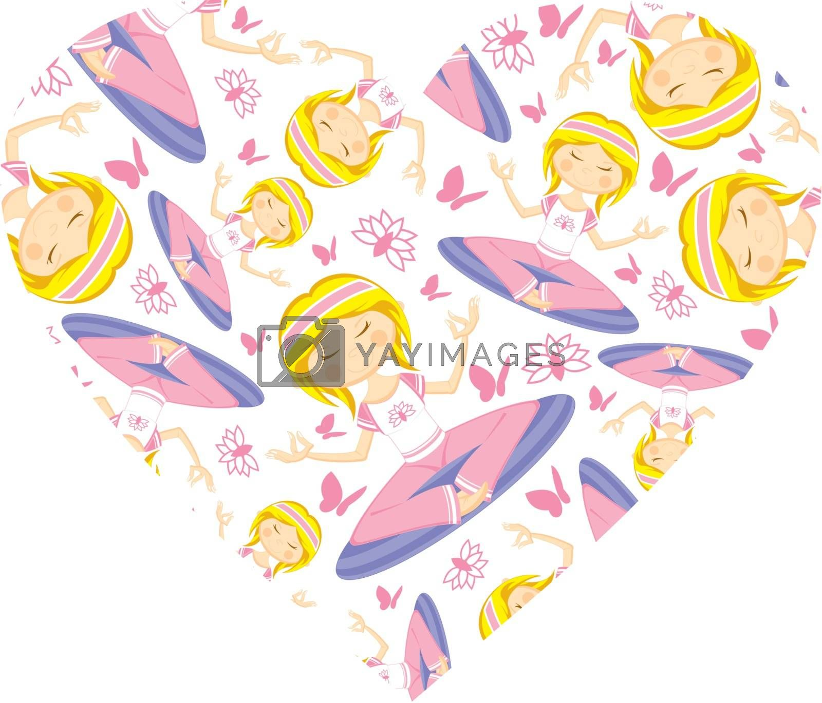 Cute Cartoon Yoga Girl Valentine Heart Pattern Vector Illustration - by Mark Murphy Creative