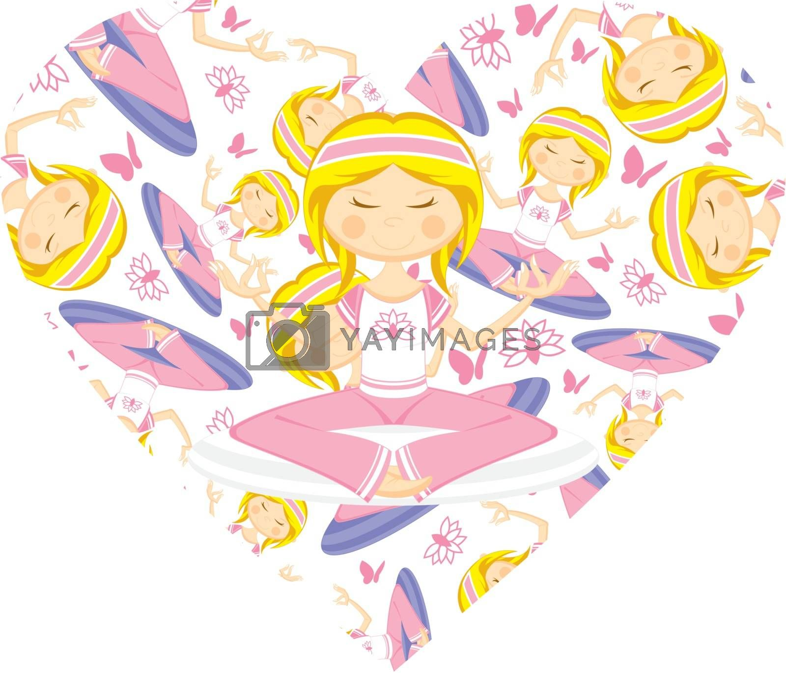 Heart Yoga Girl Pattern by markmurphycreative