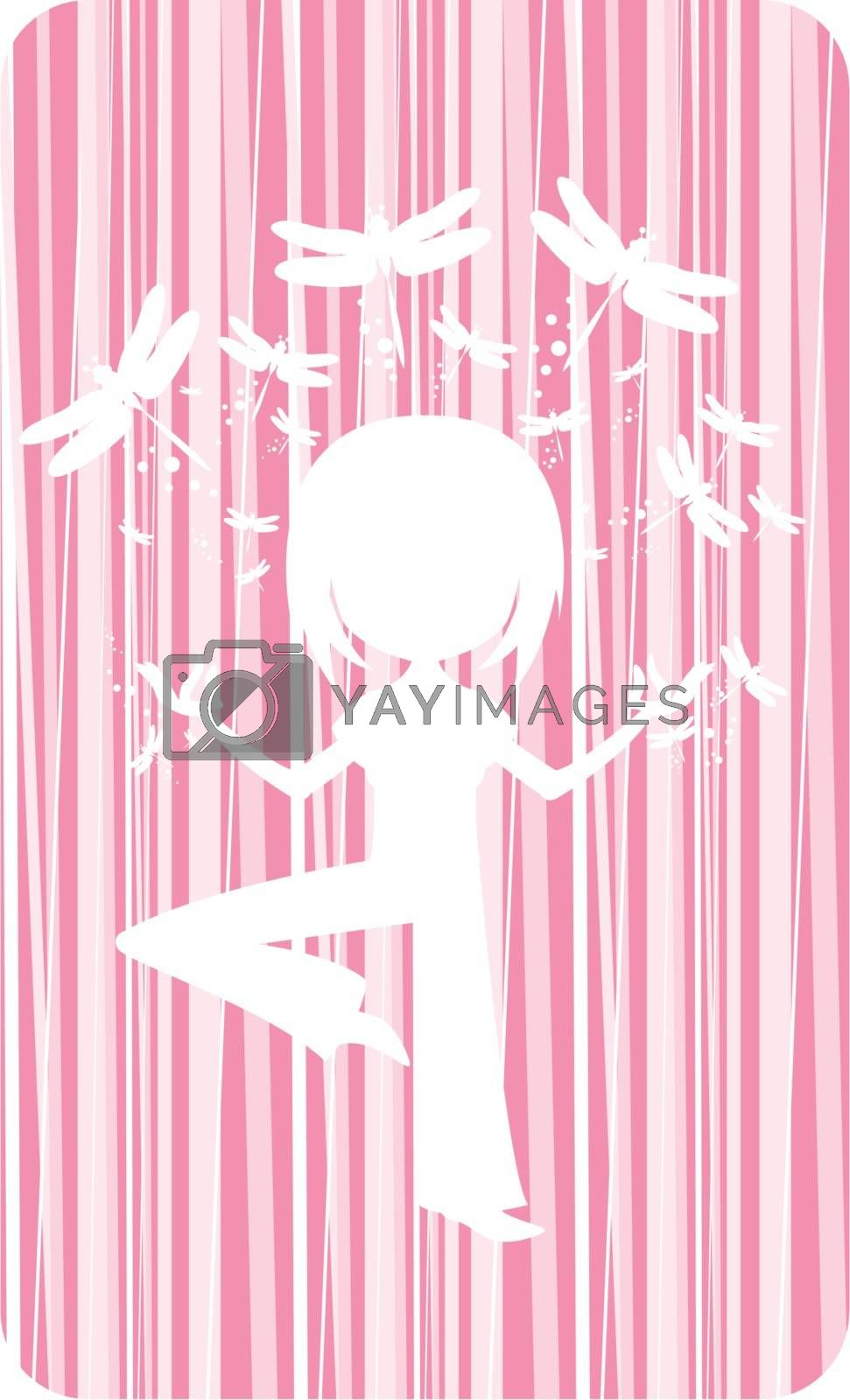 Cartoon Yoga Girl in Silhouette with Dragonflies on a Pink Striped Background Illustration by Mark Murphy Creative