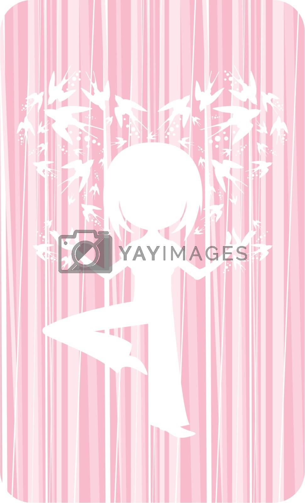 Cute Yoga Girl with Swallows by markmurphycreative