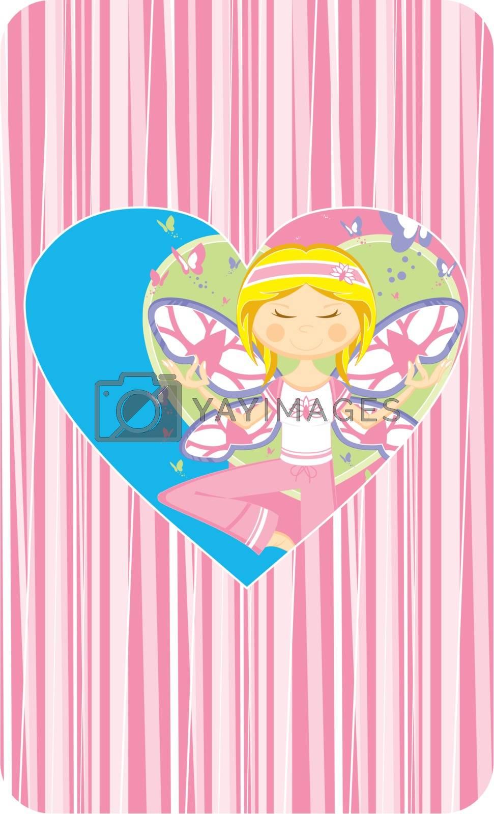 Valentine Yoga Girl with Butterflies by markmurphycreative