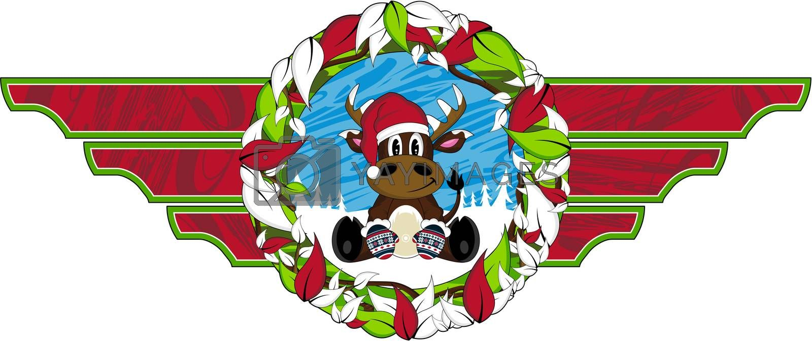 Cute Cartoon Santa Claus Reindeer Christmas Vector Illustration - by Mark Murphy Creative