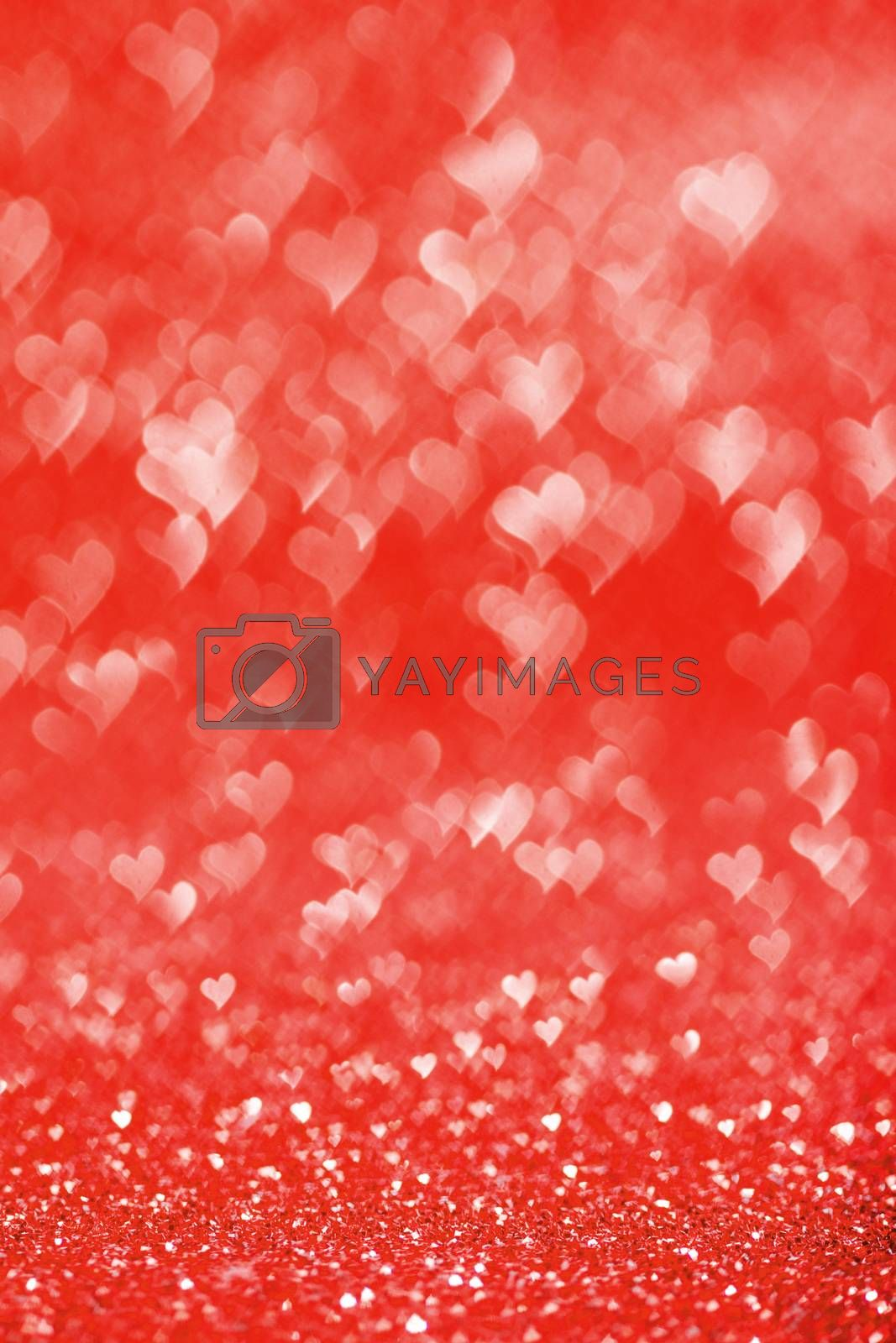 Shiny red heart love bokeh glitter lights abstract background, Valentine's day party celebration concept
